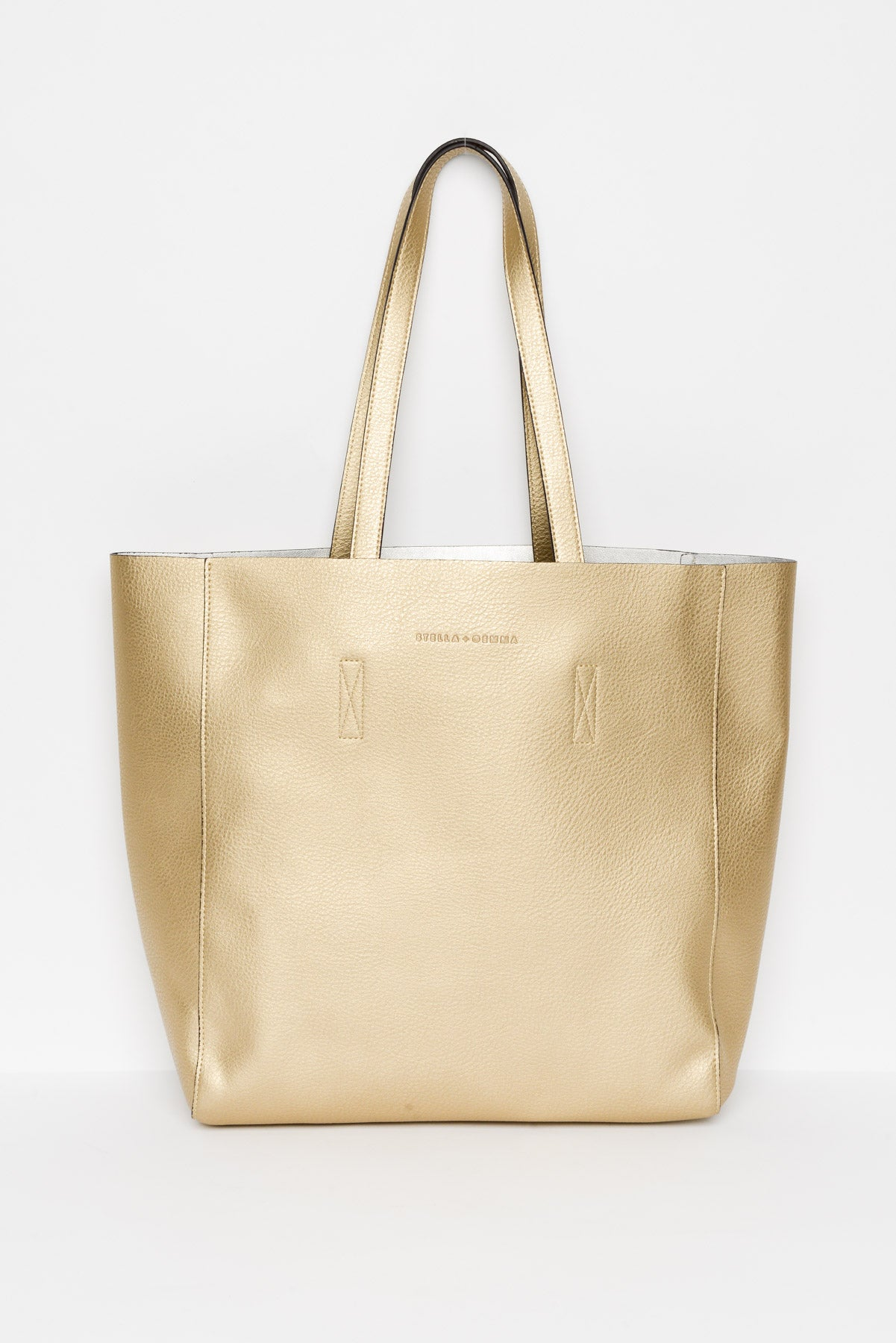 Ingrid Gold Vegan Leather Tote - Blue Bungalow