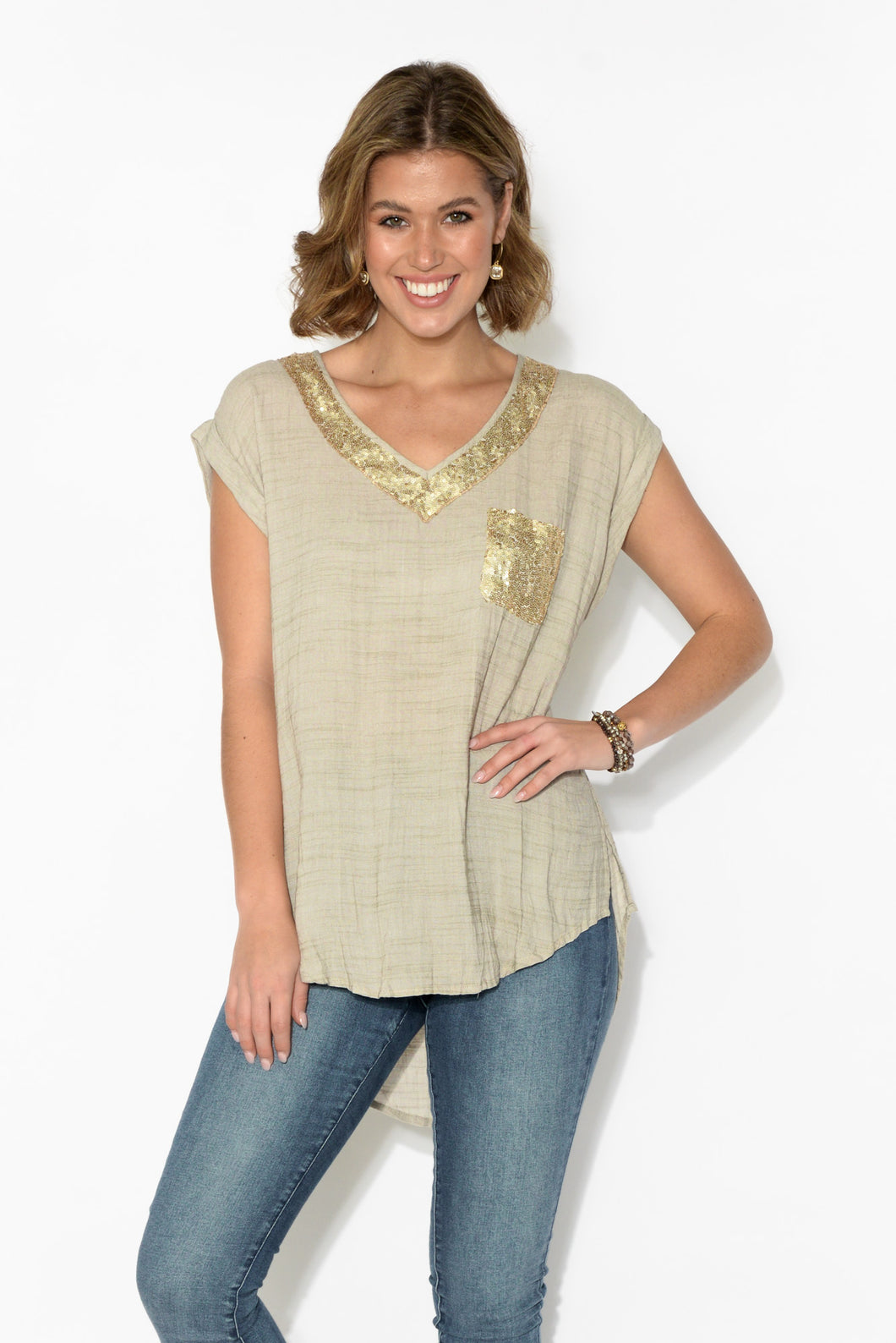 Irene Natural Sequin Pocket Top