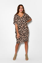 Iris Leopard Drape Tee Dress - Blue Bungalow