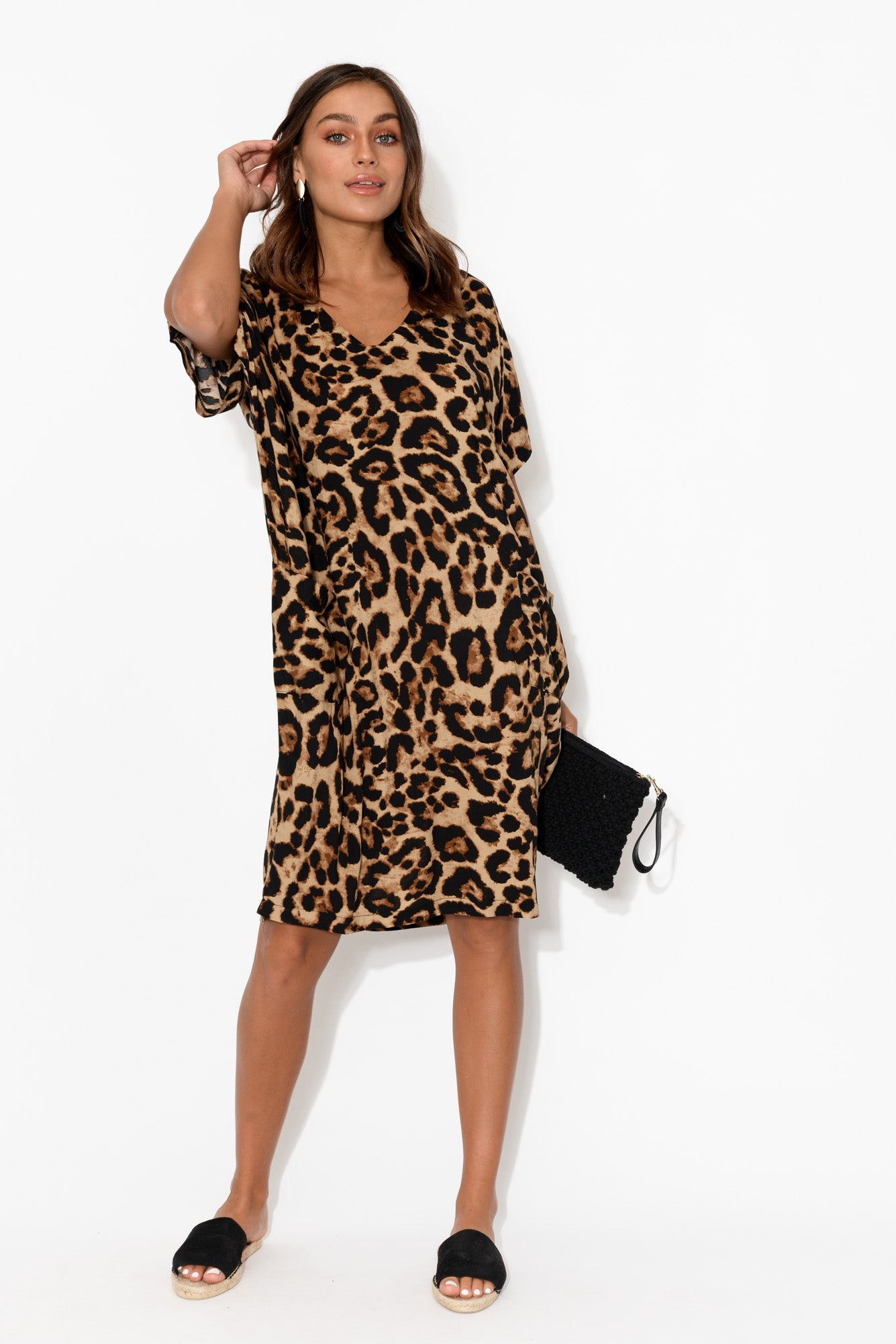 Iris Leopard Drape Tee Dress
