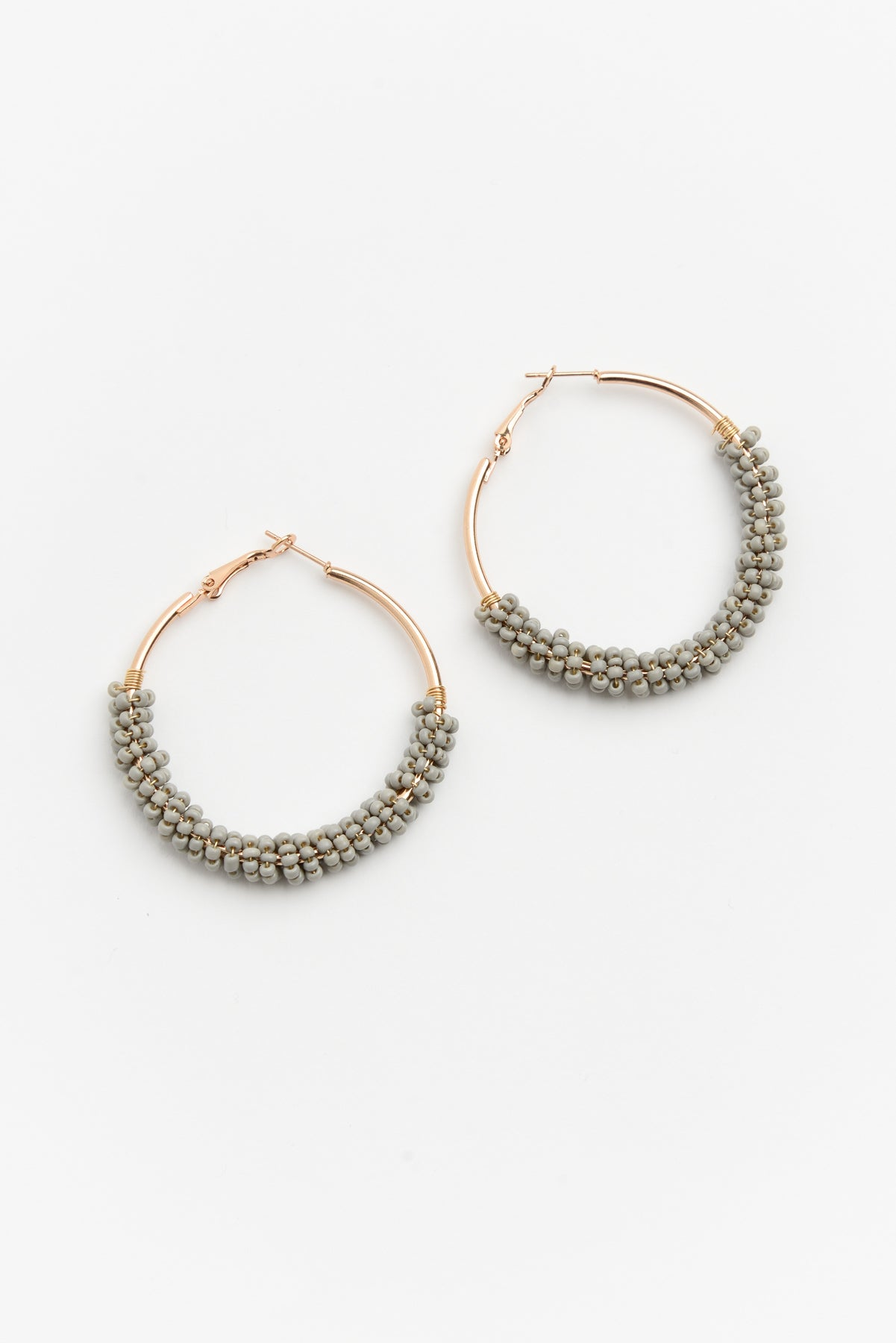 Isla Grey Beaded Hoop Earring - Blue Bungalow