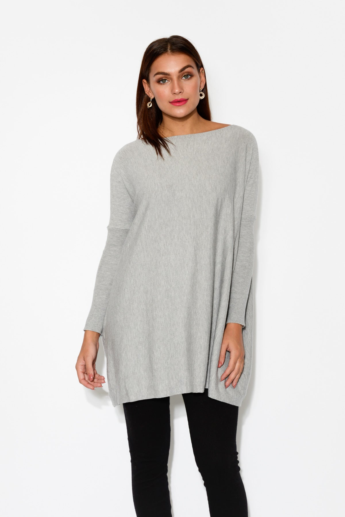Isy Grey Cotton Oversized Knit - Blue Bungalow