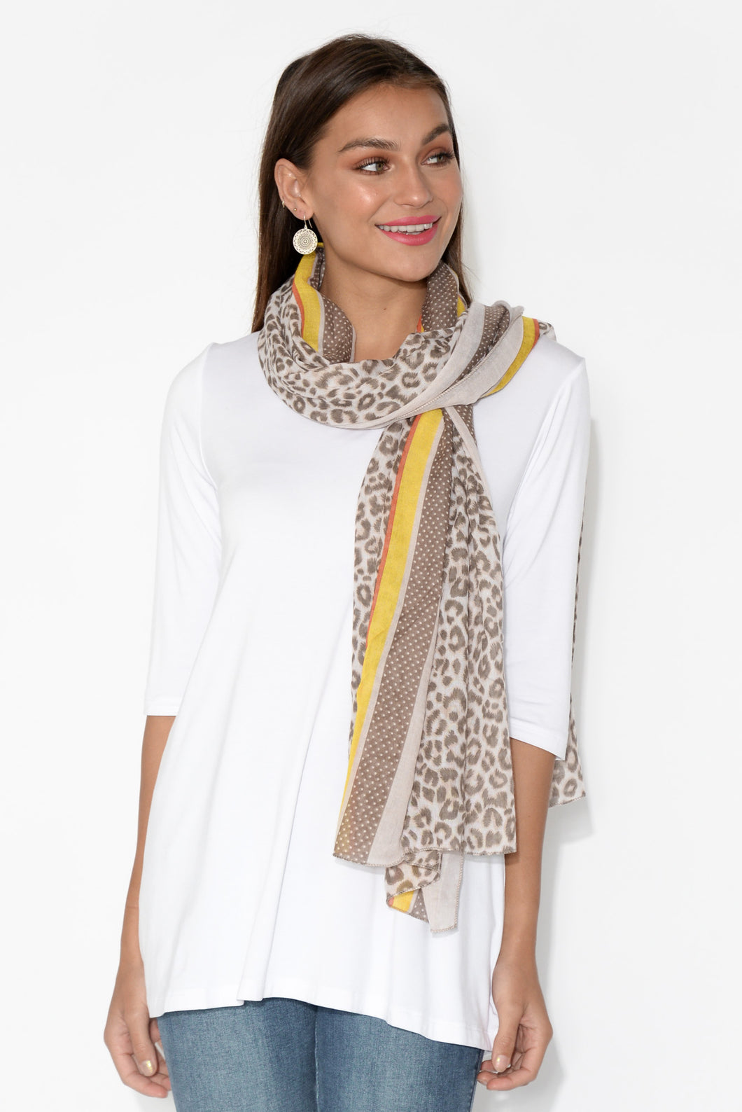 Ivory Spotted Leopard Scarf