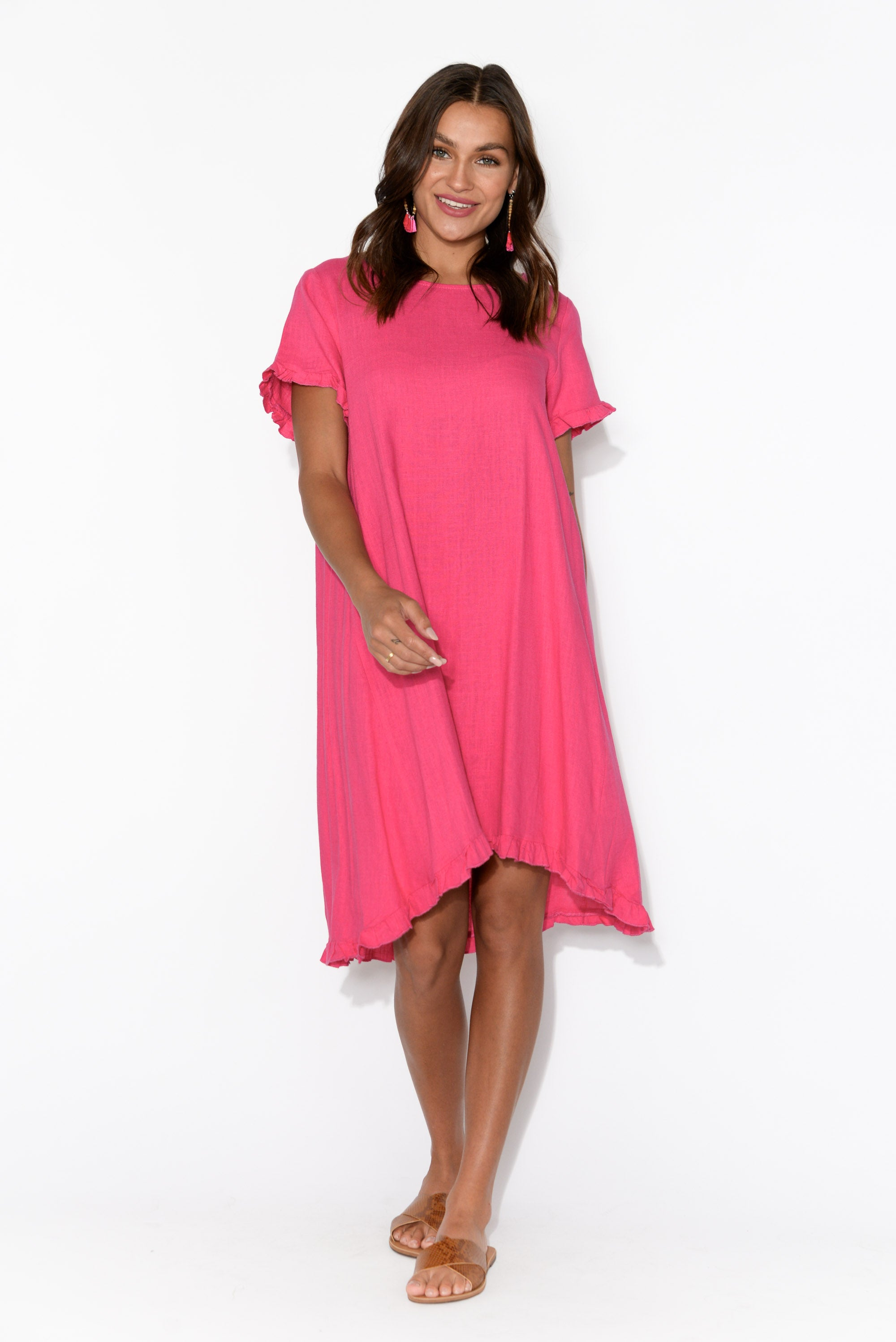 Izzy Hot Pink Linen Cotton Frill Dress
