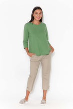 Jackie Green Sleeved Cotton Top