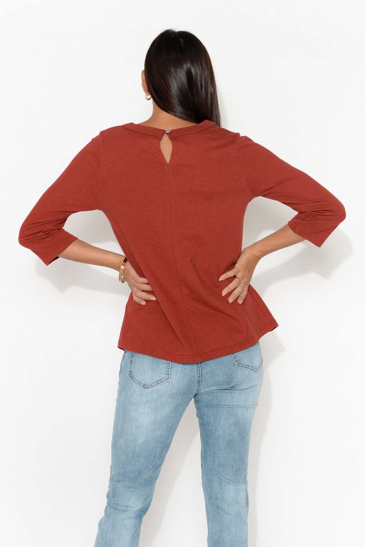 Jackie Red Sleeved Cotton Top