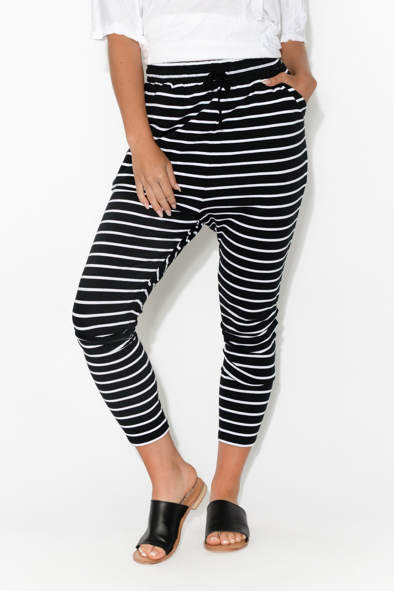 Jade Black and White Stripe Slouch Pant
