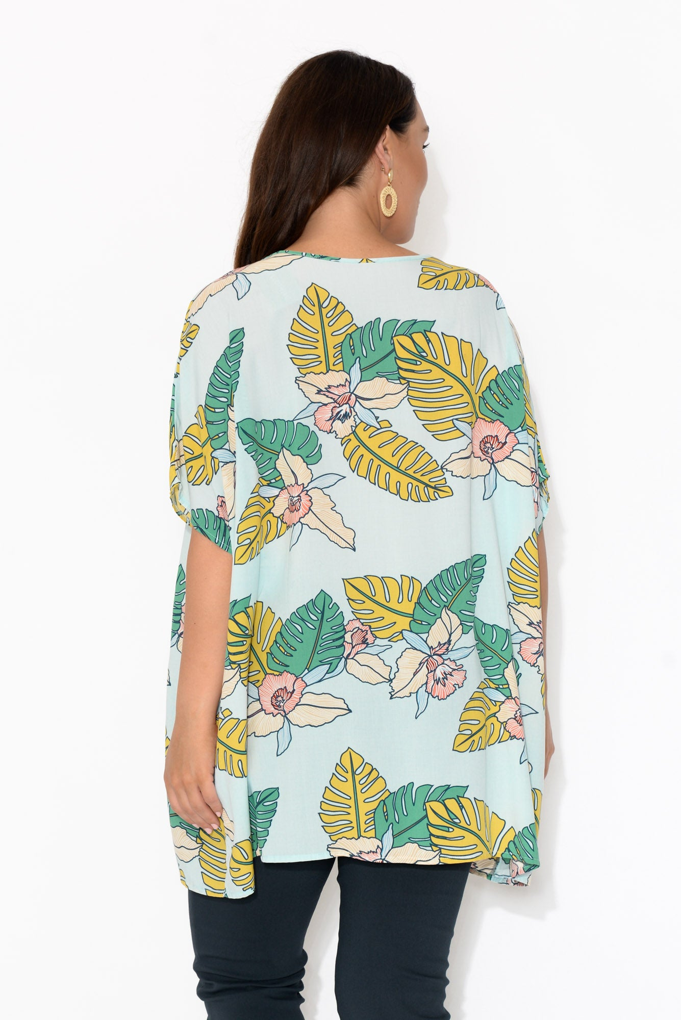 Jane Blue Tropical Drape Top