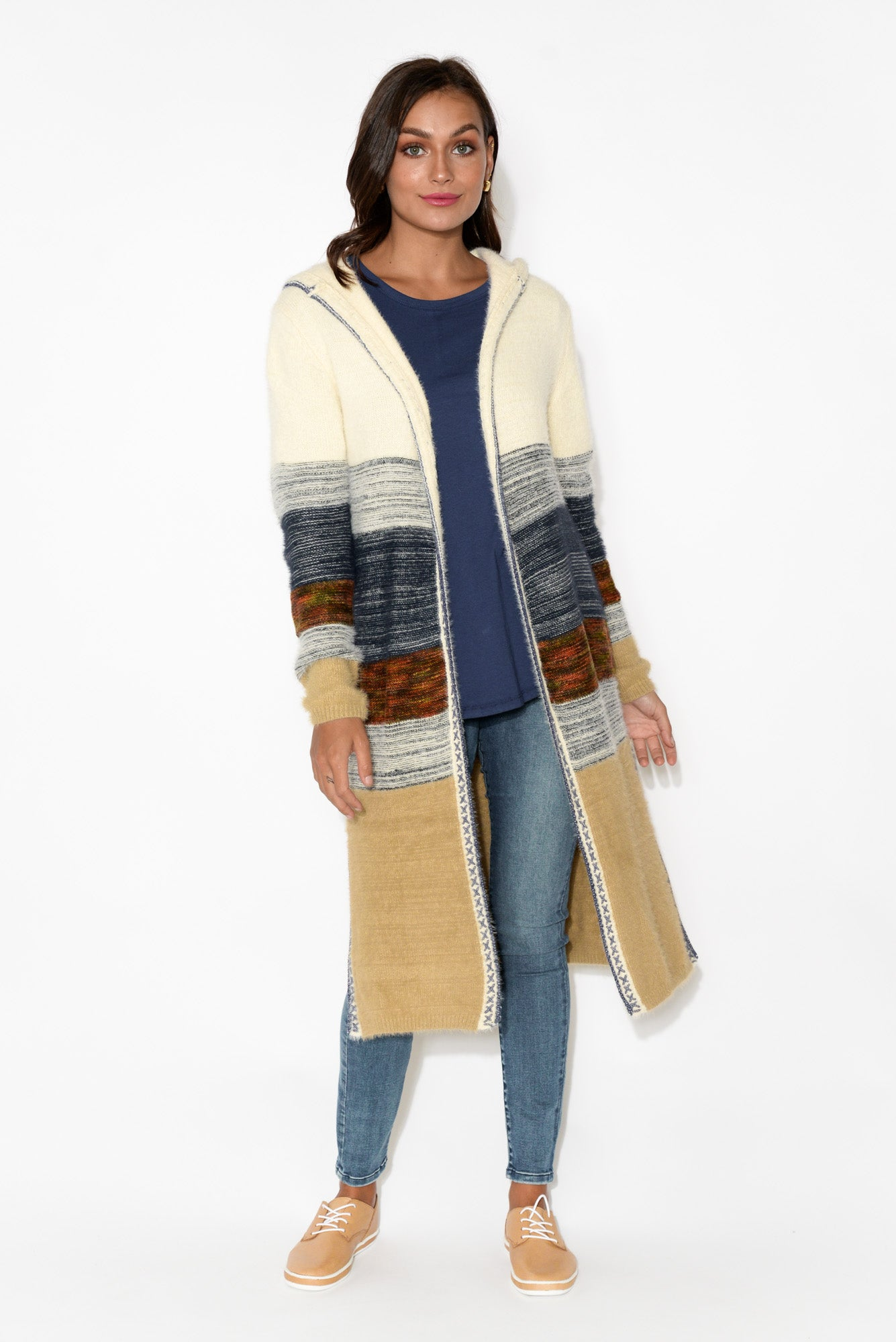 Janet Natural Stripe Long Cardigan