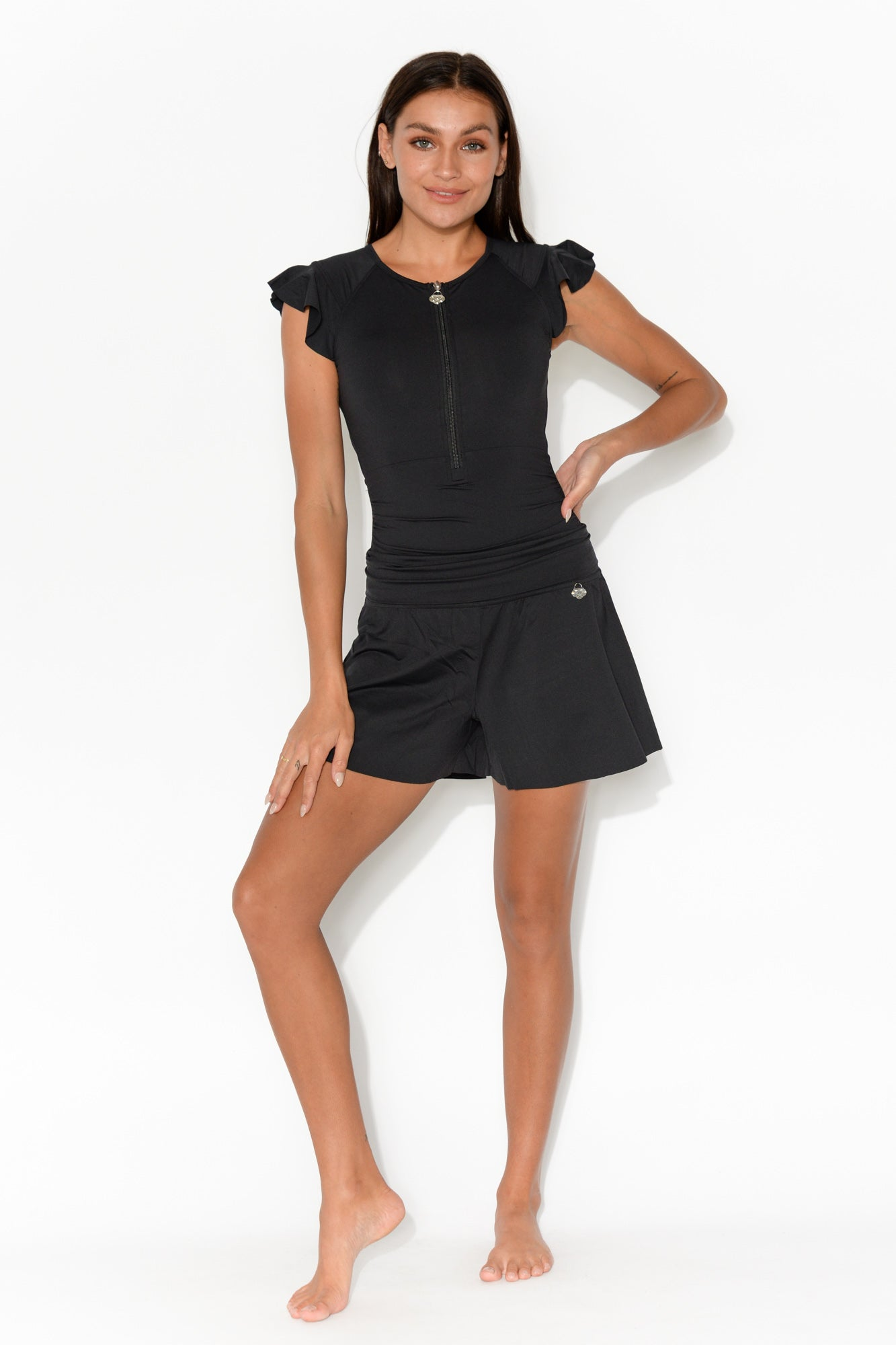 Janie Black Ruffle Sleeve One Piece