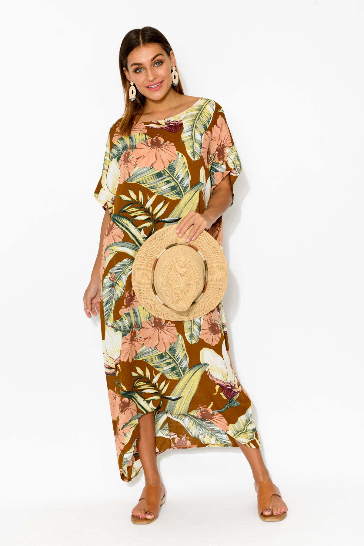 Janine Bronze Tropical Kaftan