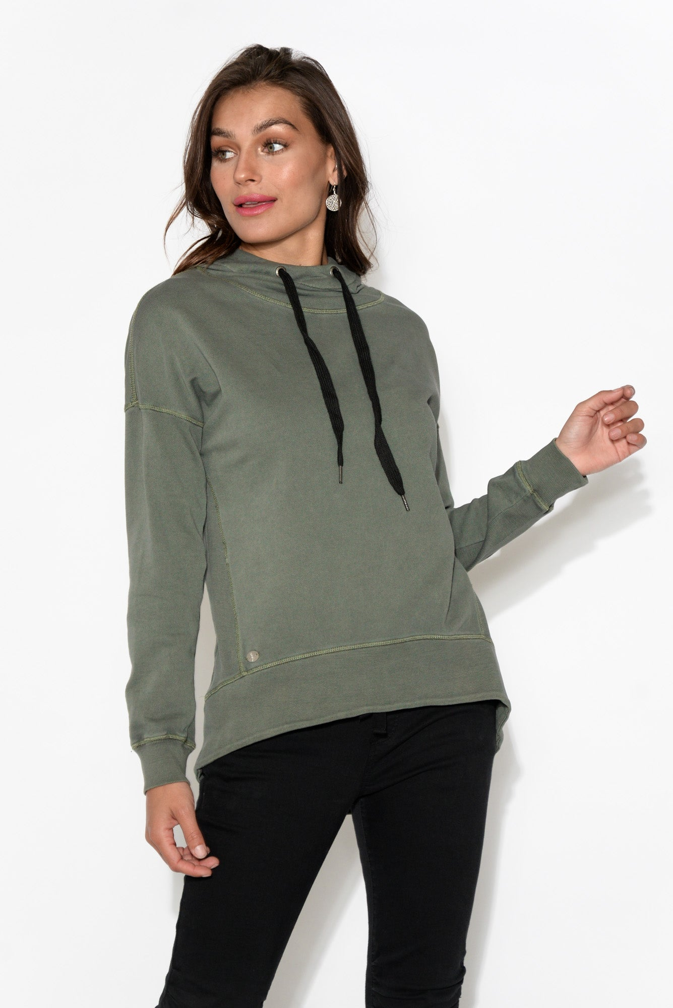 Jasmine Khaki Hooded Jumper