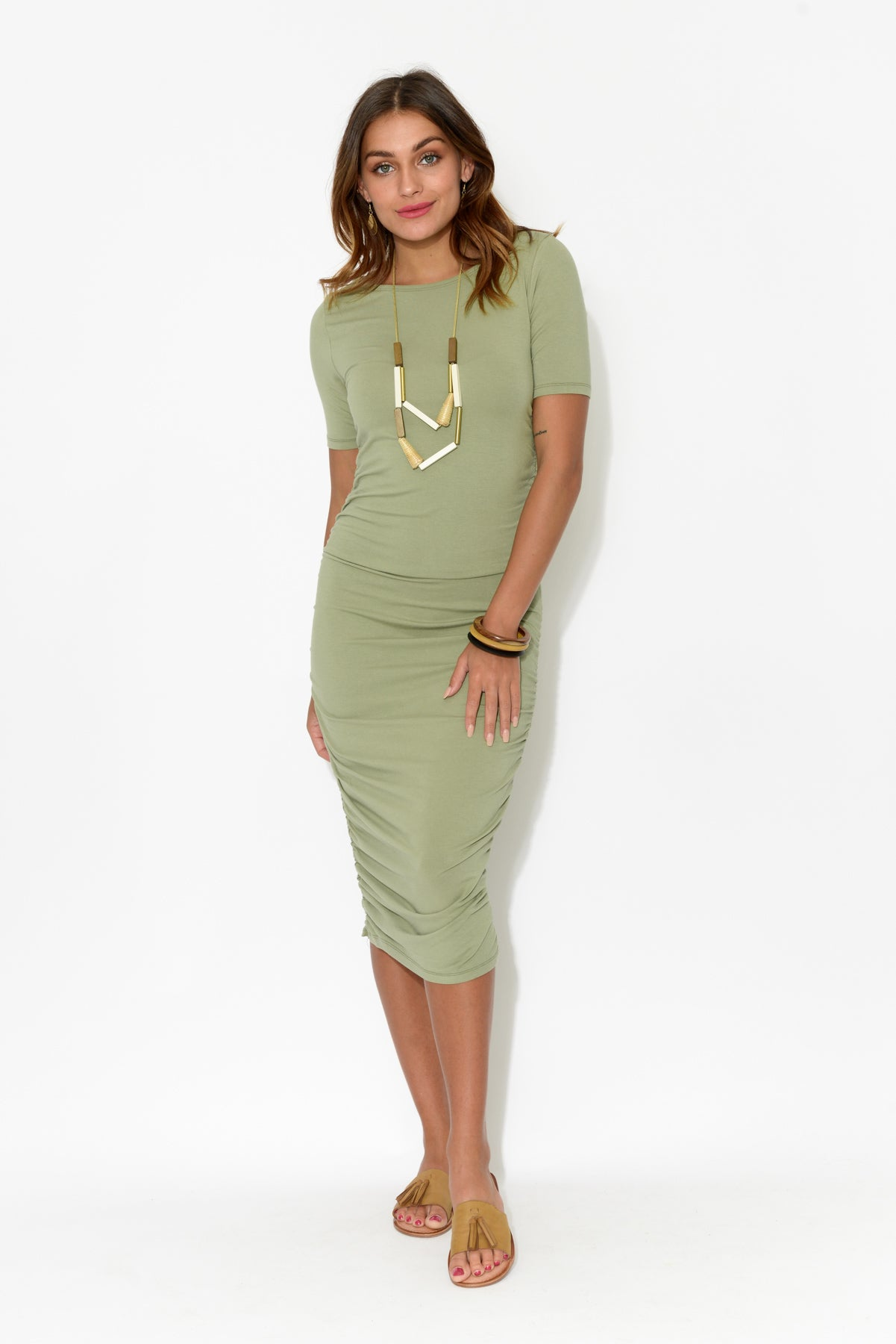 Jasper Sage Bamboo Ruched Dress