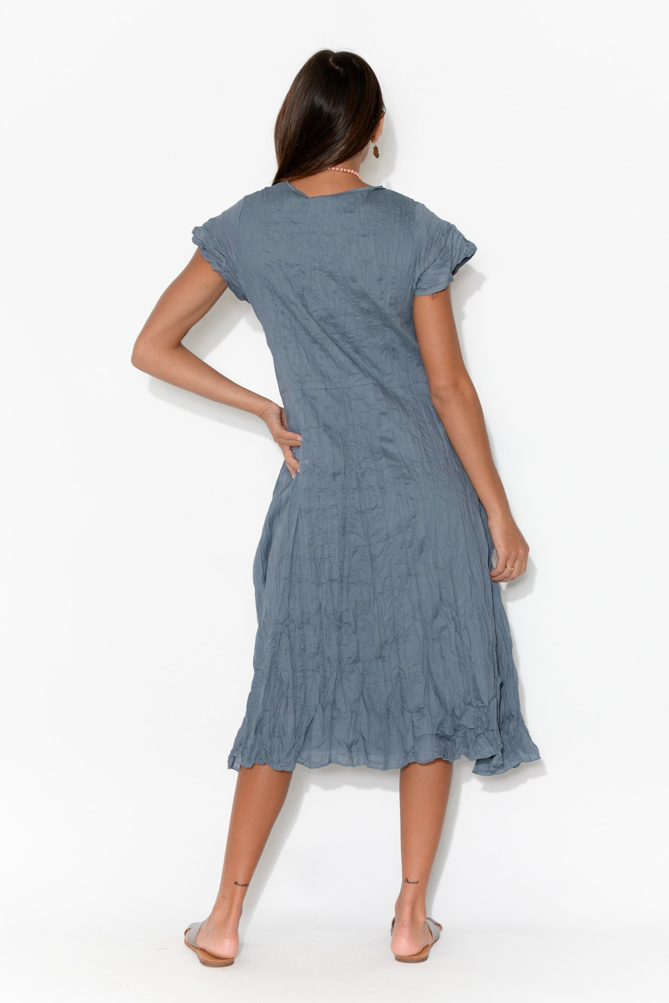 Jemima Blue Crinkle Cotton Dress