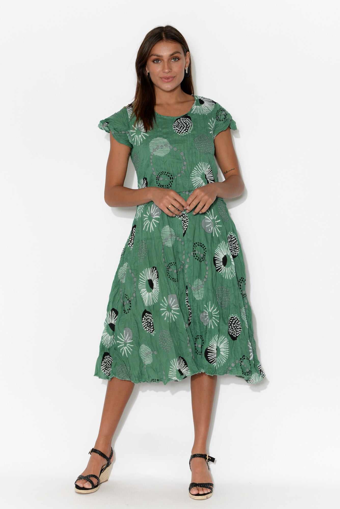 Jemima Teal Floral Crinkle Cotton Dress