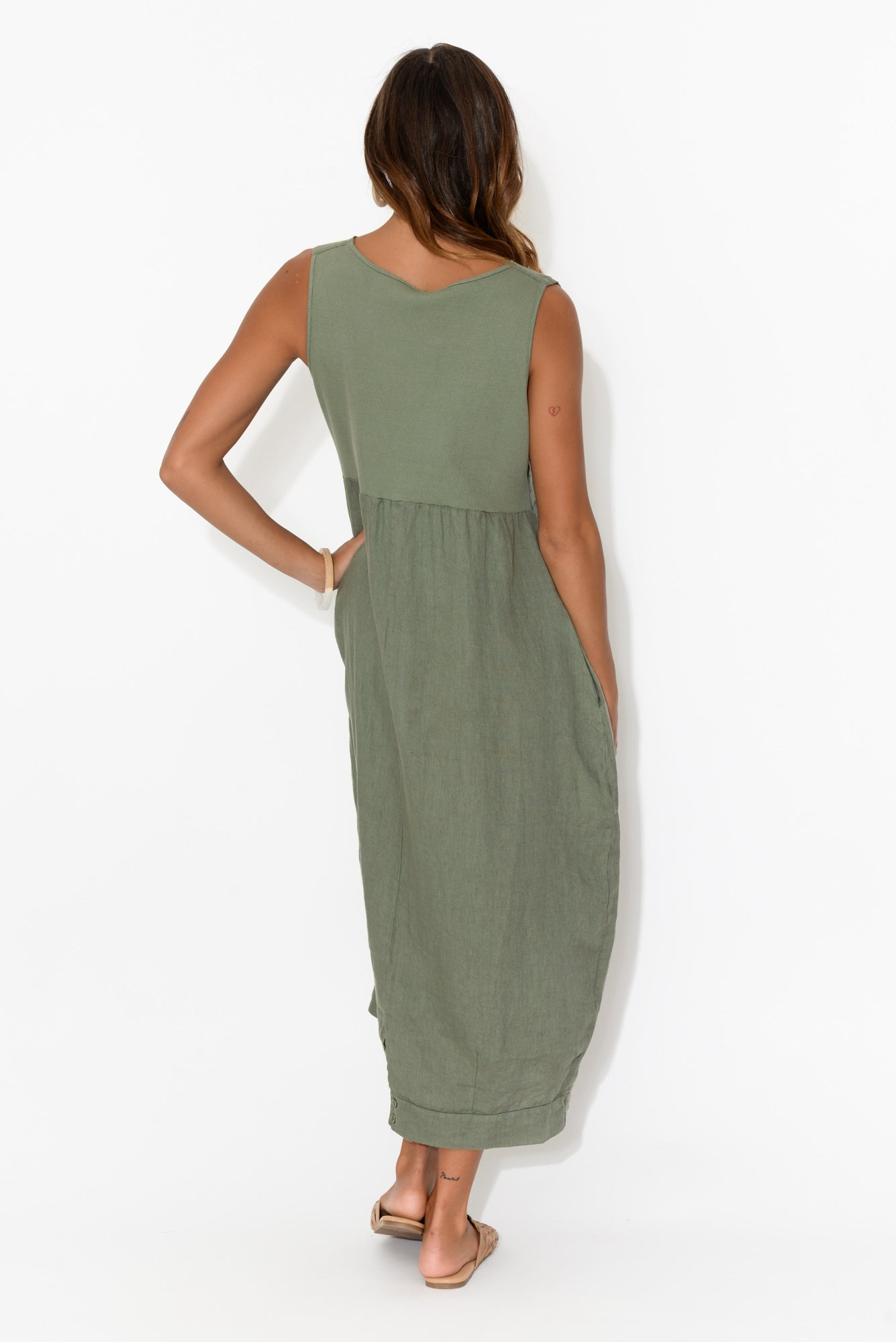 Jenny Khaki Sleeveless Linen Dress