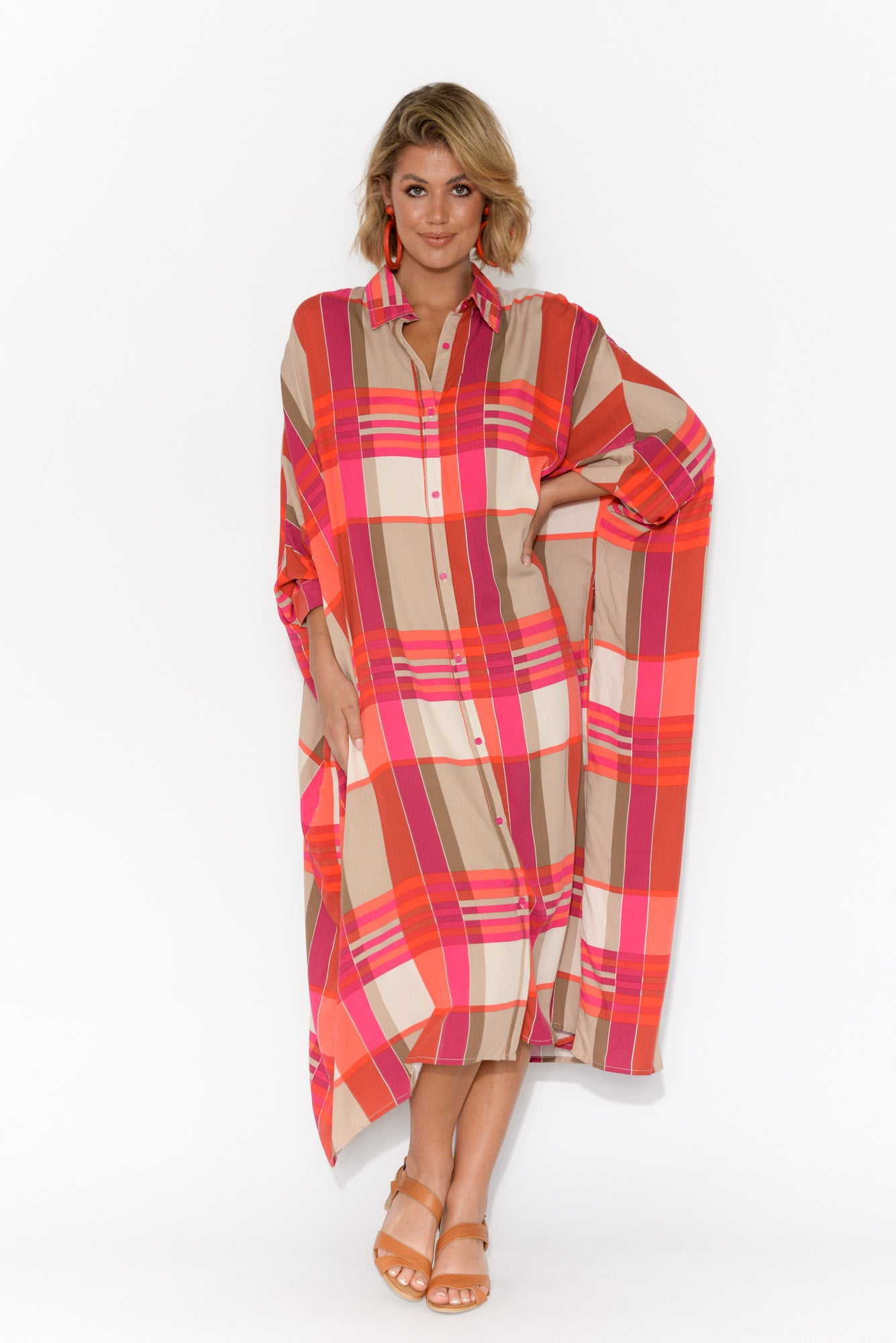 Jewel Pink Check Long Sleeve Shirt Dress