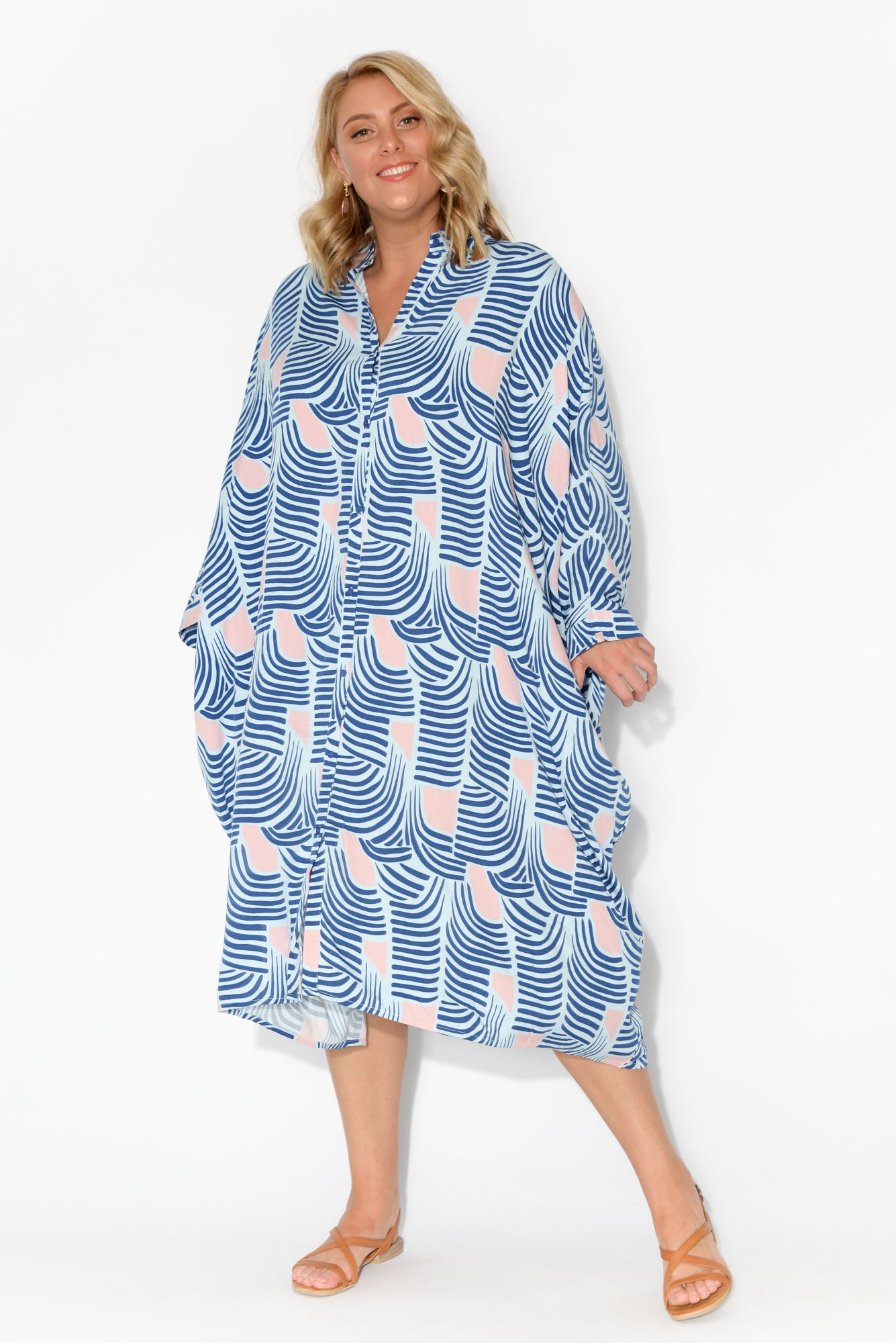 Jewel Tropical Palm Long Sleeve Shirt Dress