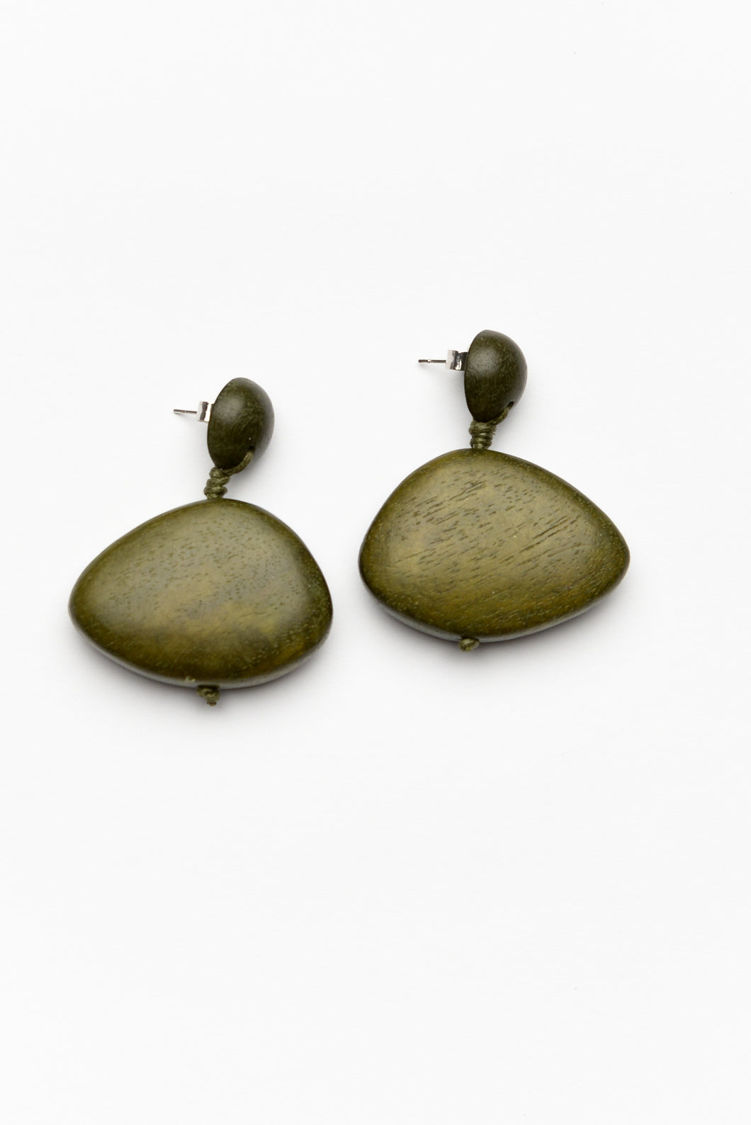 Jia Khaki Wood Drop Earring
