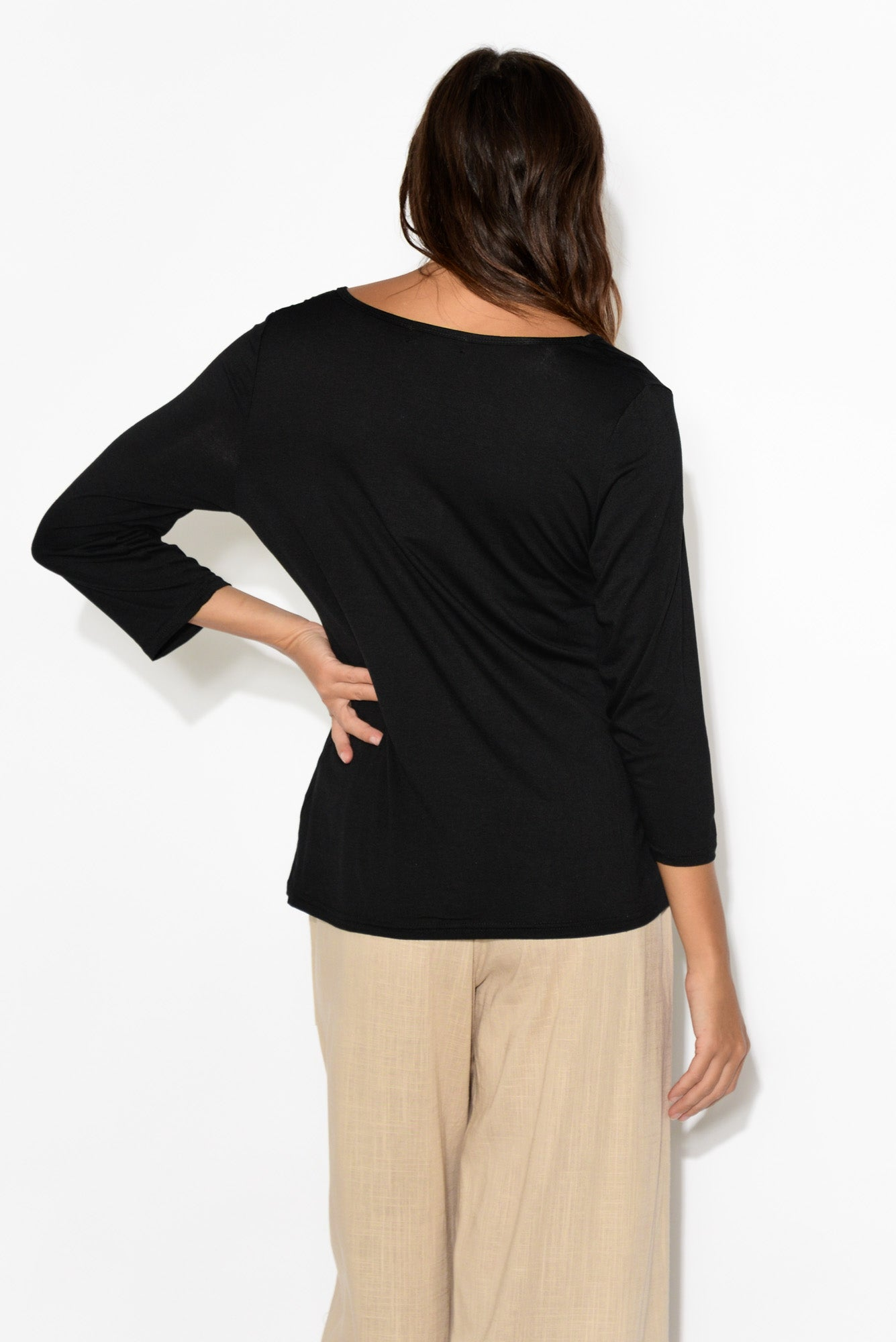 Joanna Black 3/4 Sleeve Top