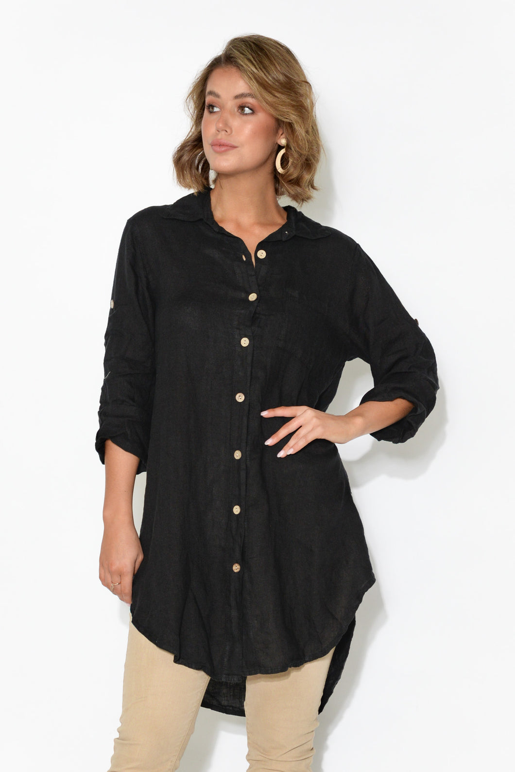 Joelle Black Linen Button Down Shirt