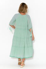 Judith Embroidered Aqua Cotton Dress