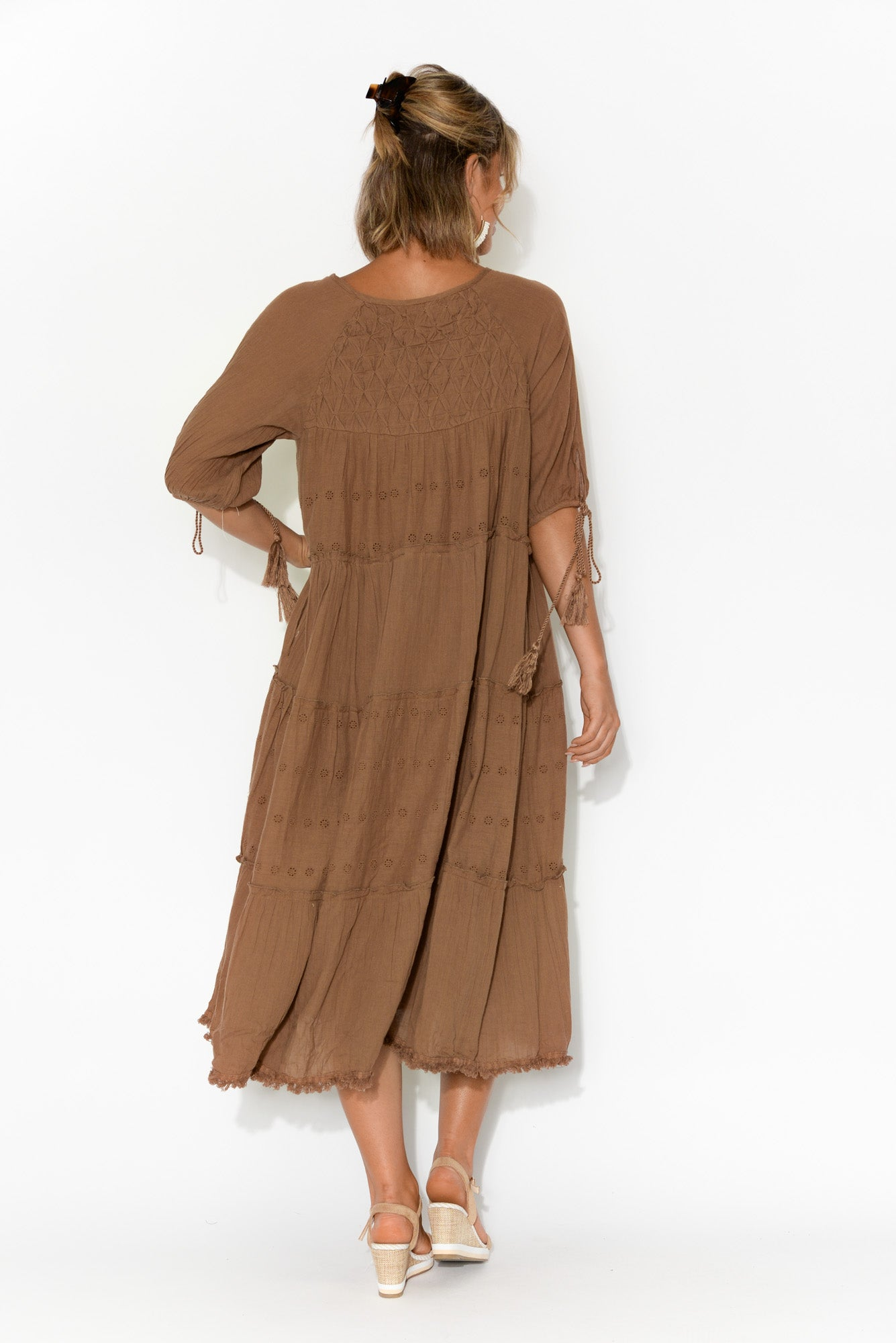 Judith Embroidered Brown Cotton Dress