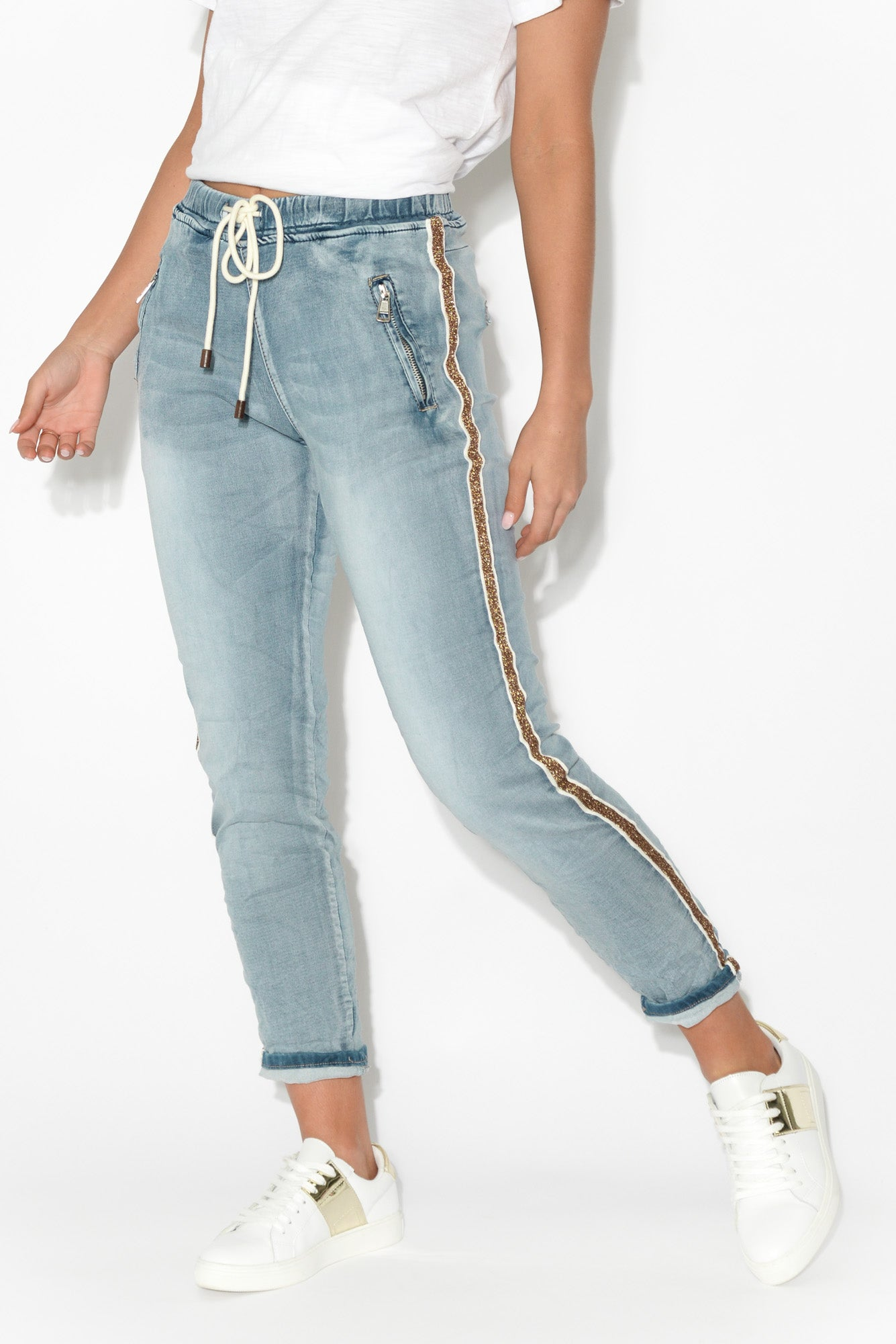 Juliette Gold Stripe Drawstring Jean