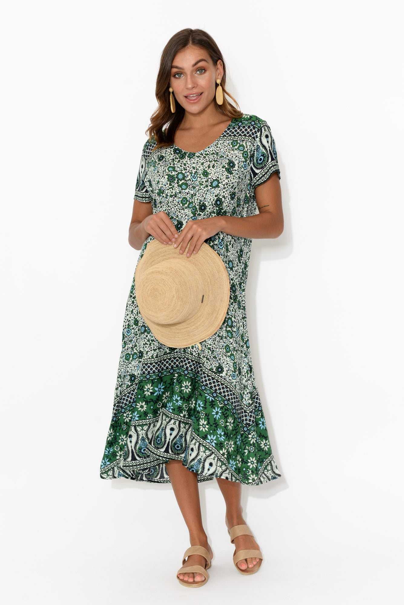 June Green Floral Swing Dress