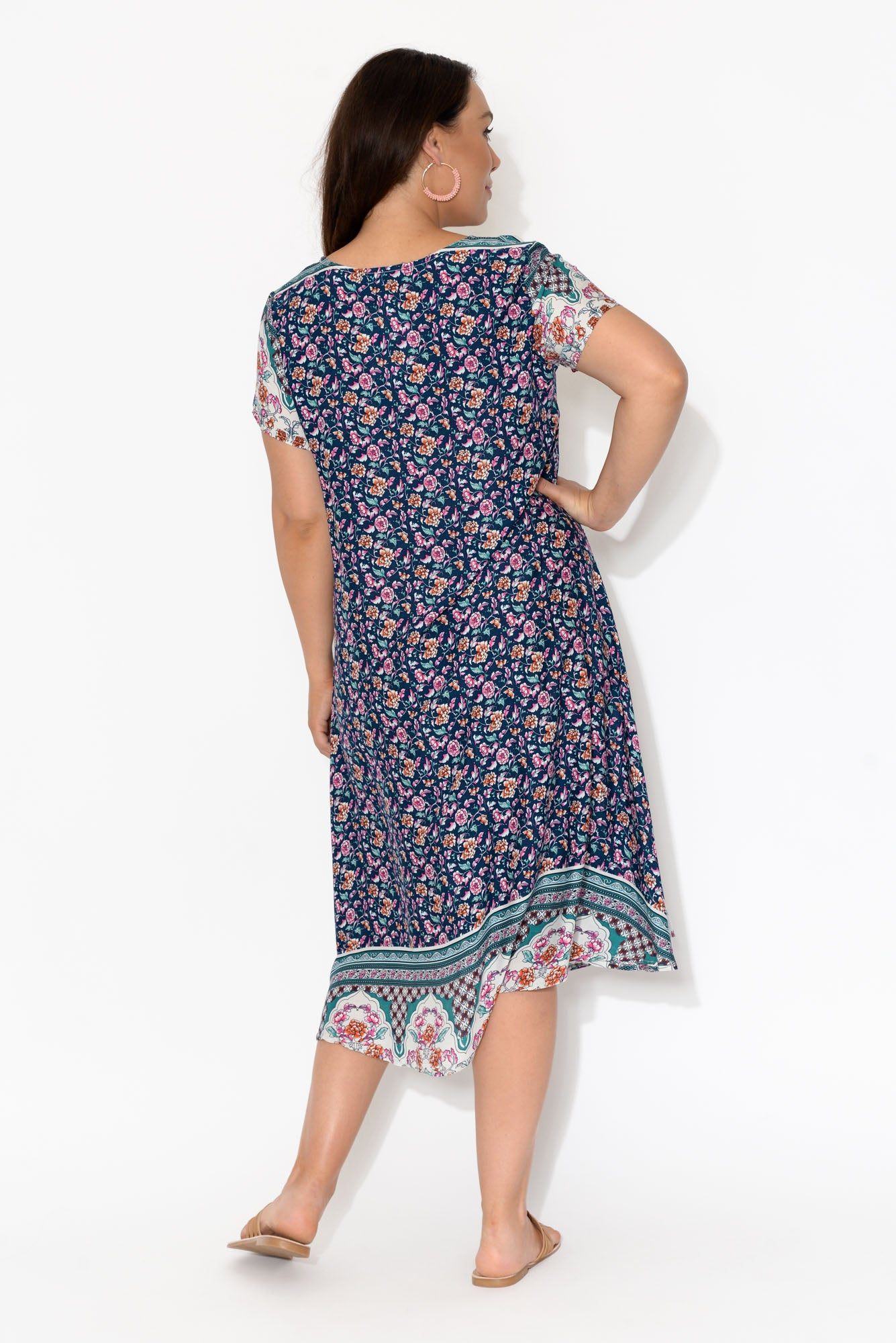 June Purple Floral Swing Dress
