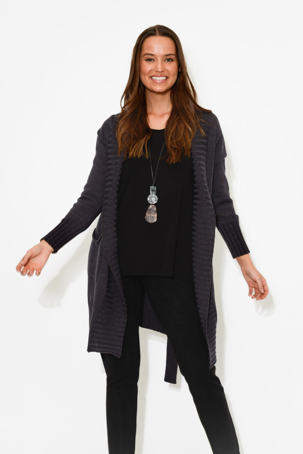Juno Charcoal Merino Wool Cardigan - Blue Bungalow