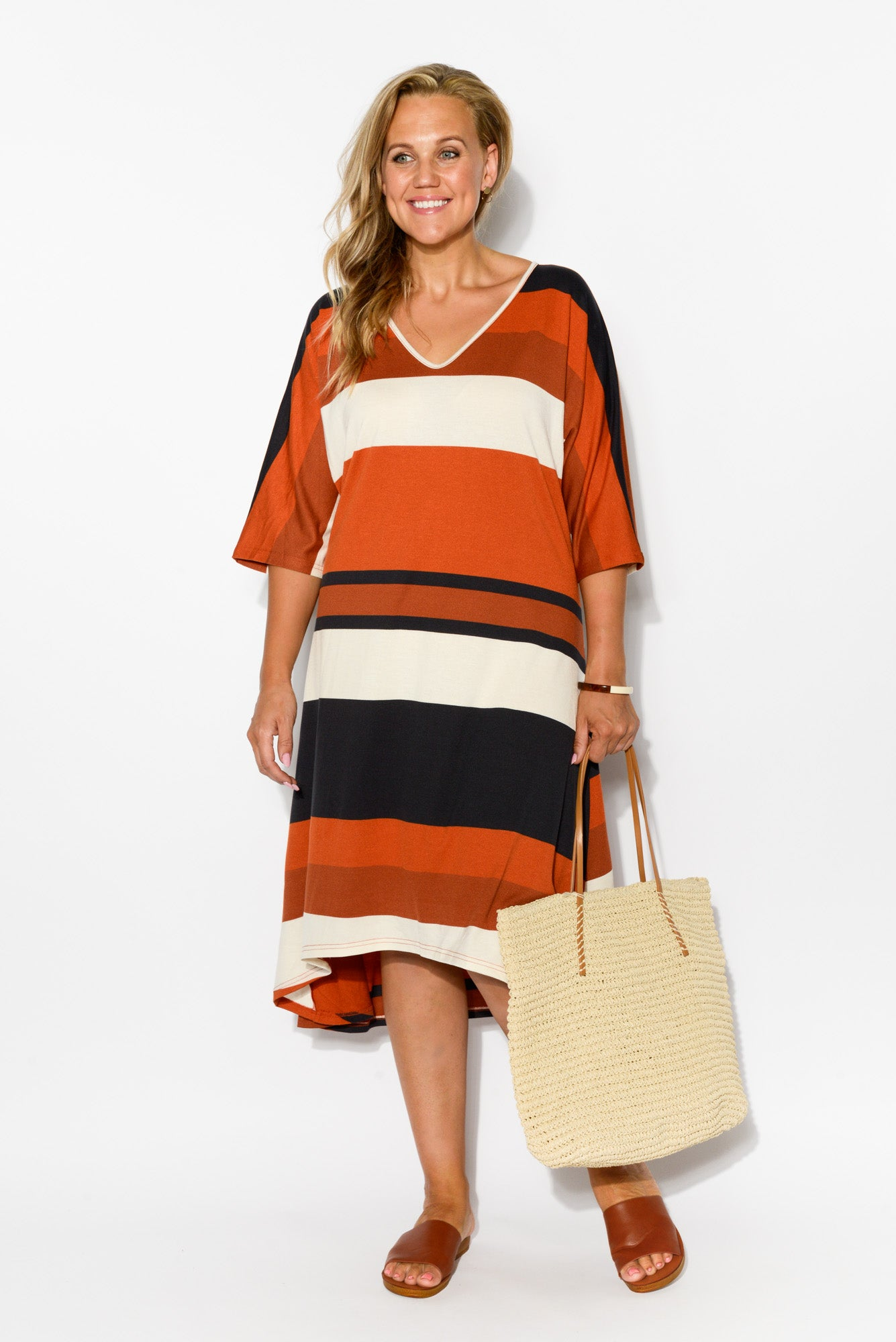 Rust Stripe A Line Dress
