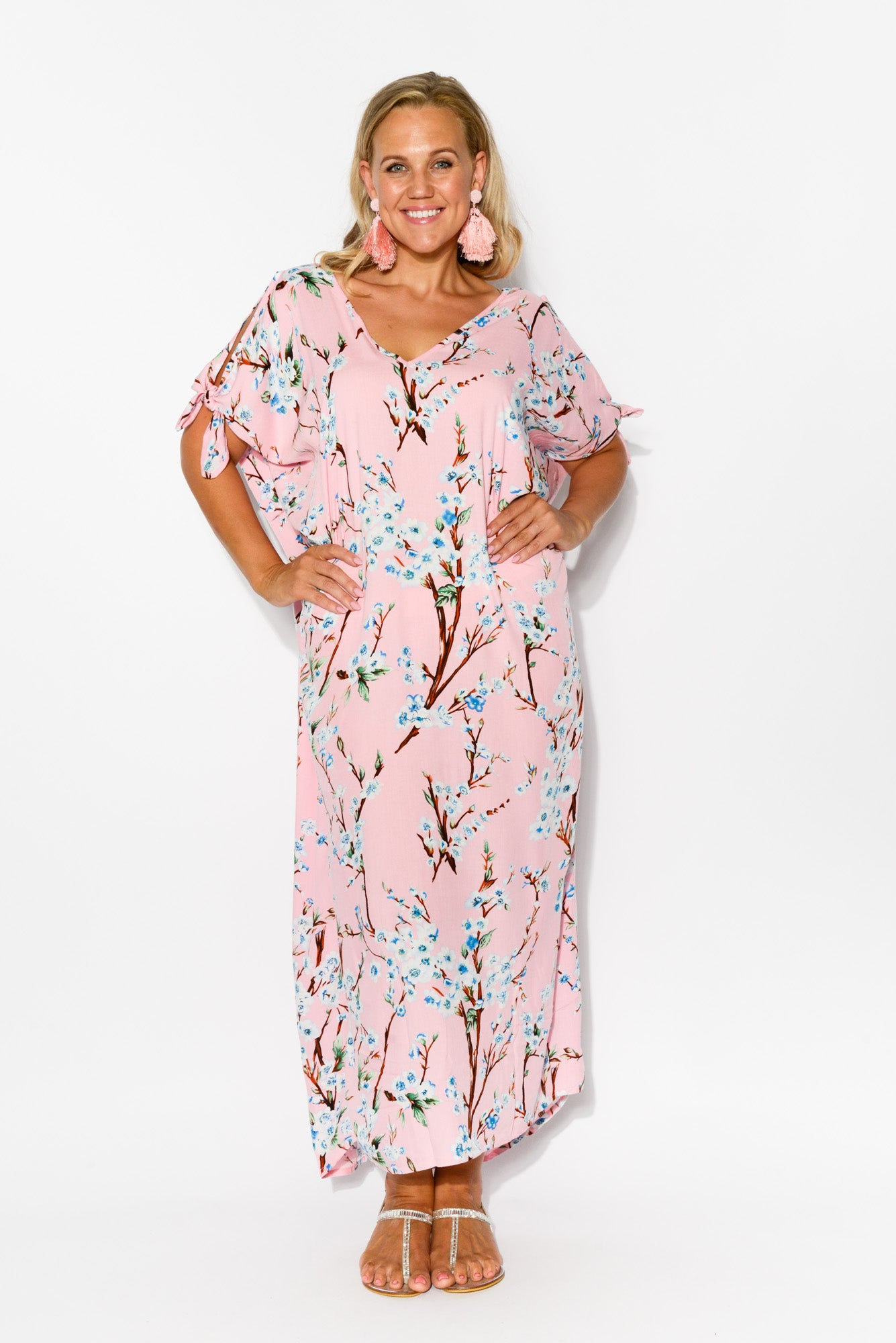 Mykonos Pink Floral Cold Shoulder Kaftan - Blue Bungalow