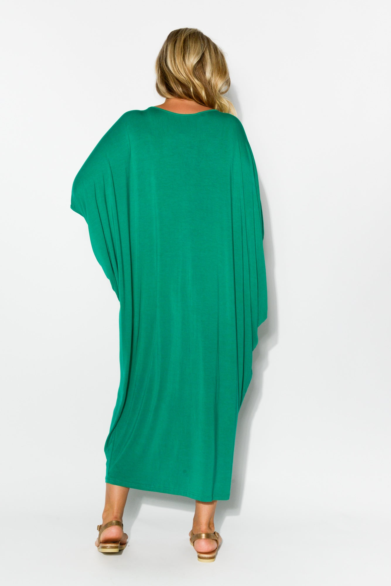 Freya Green Bamboo Maxi Batwing Dress - Blue Bungalow
