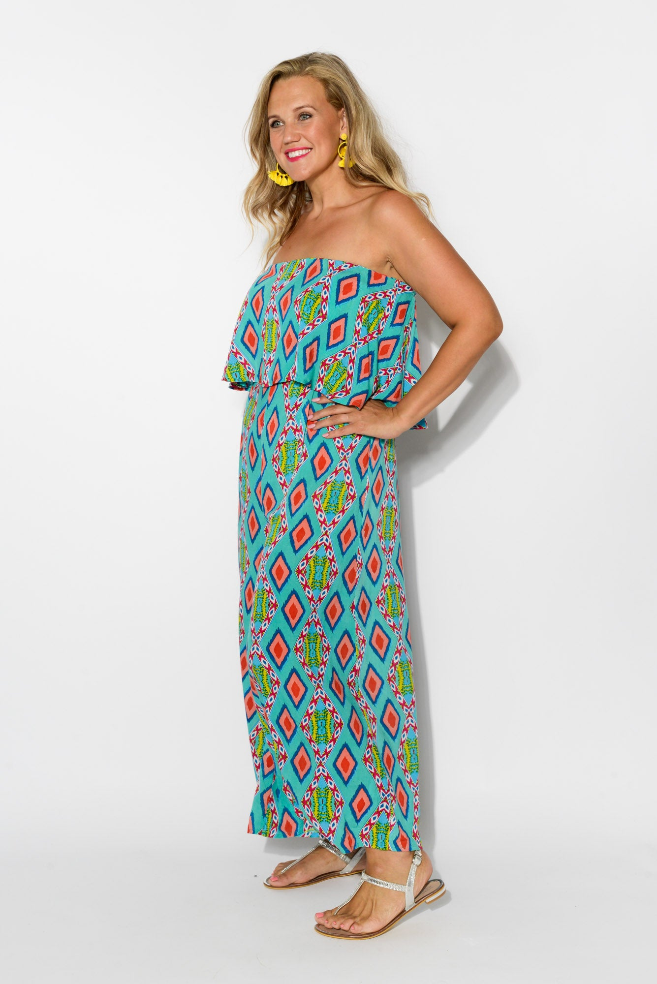 fc007135429 Lombardy Teal Strapless Jumpsuit - Blue Bungalow ...