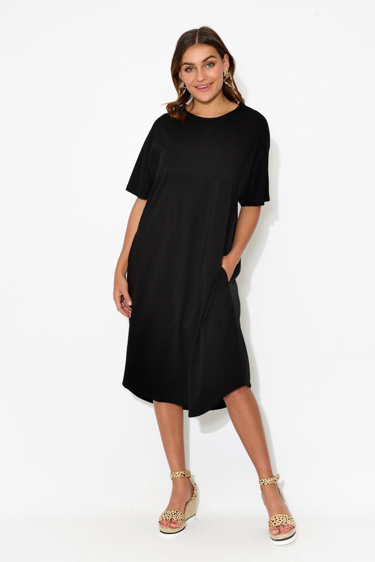 Kai Black Cotton Dress - Blue Bungalow