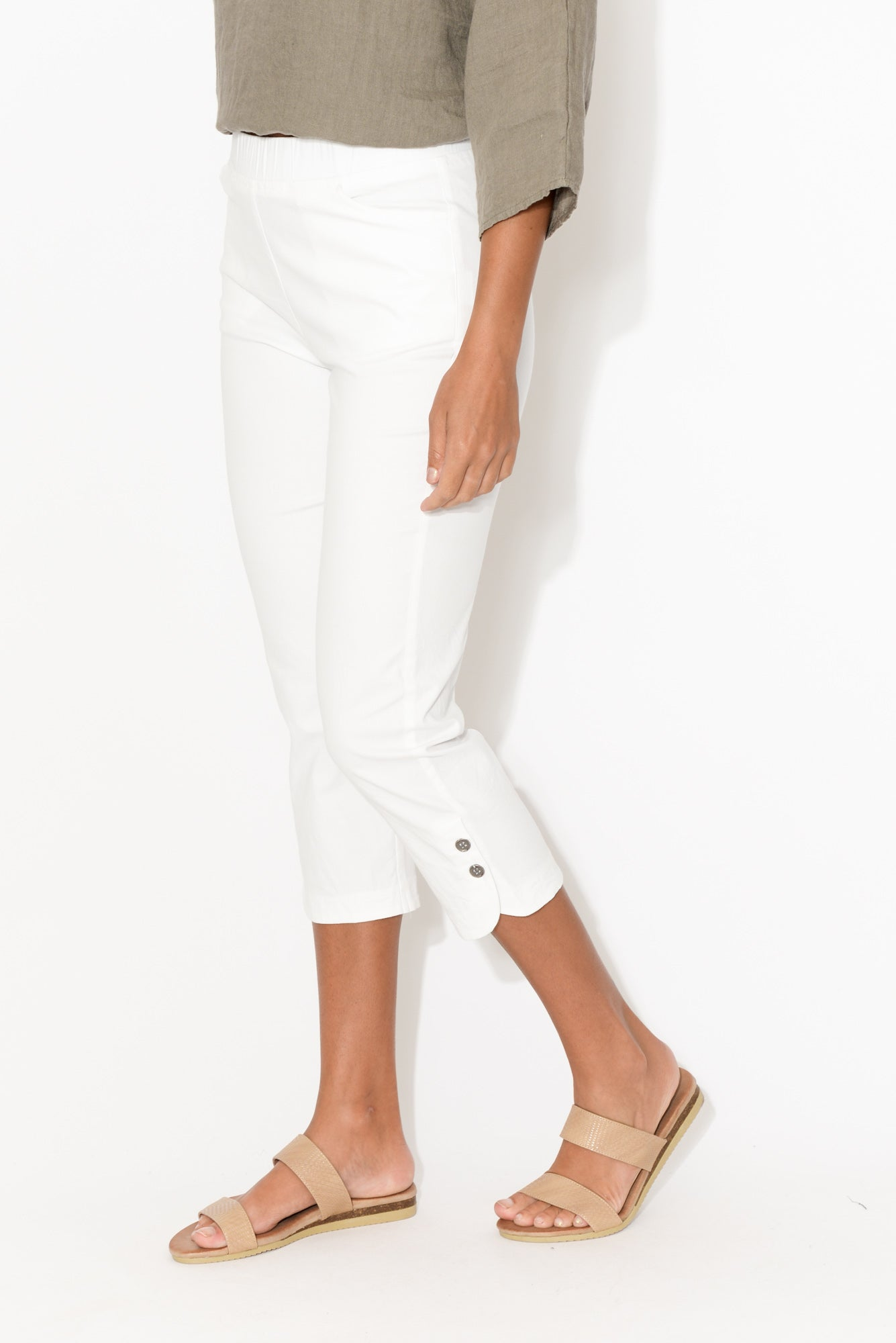 Kaia White Cropped Pant