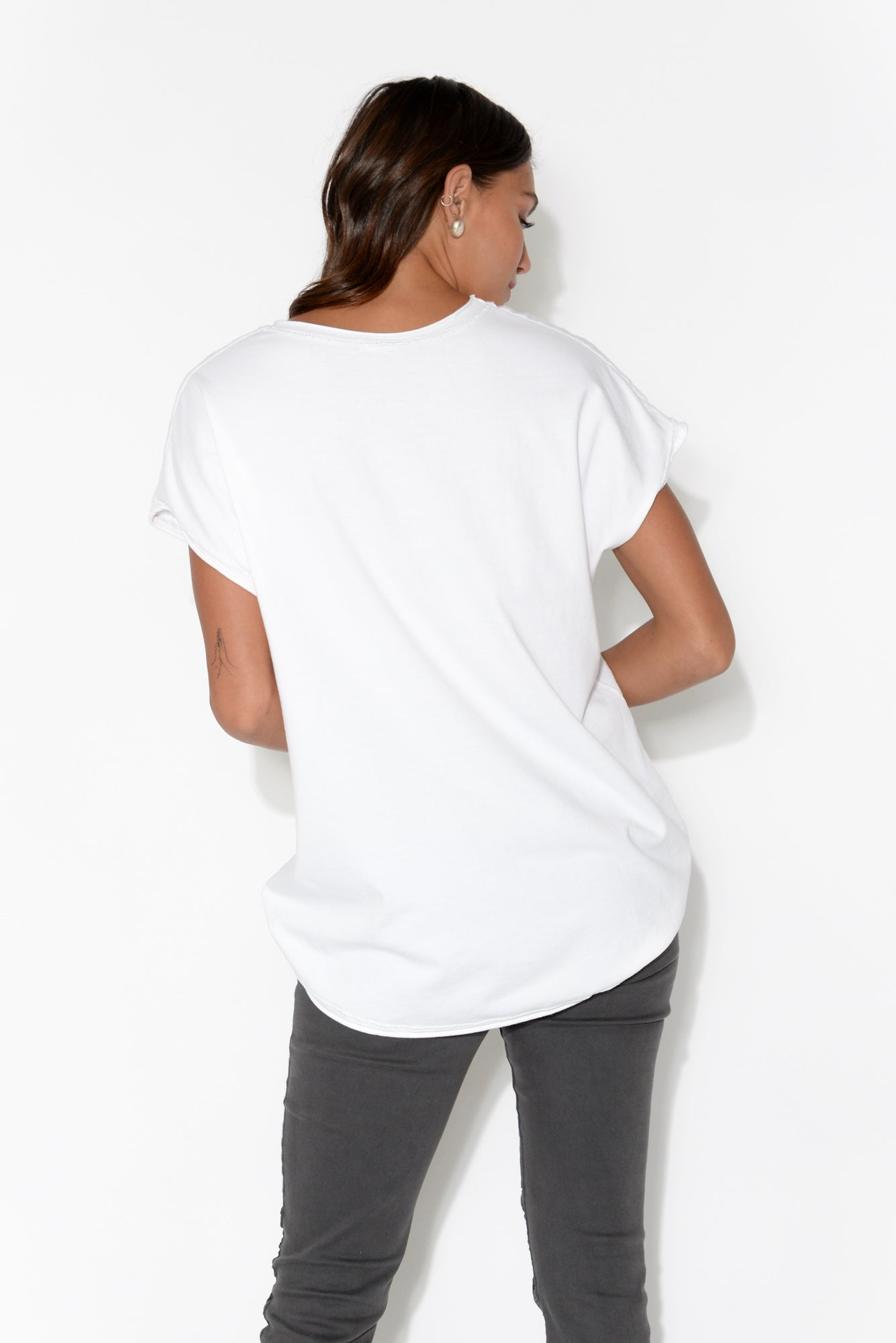 Kailana White Cotton Linen Star Tee