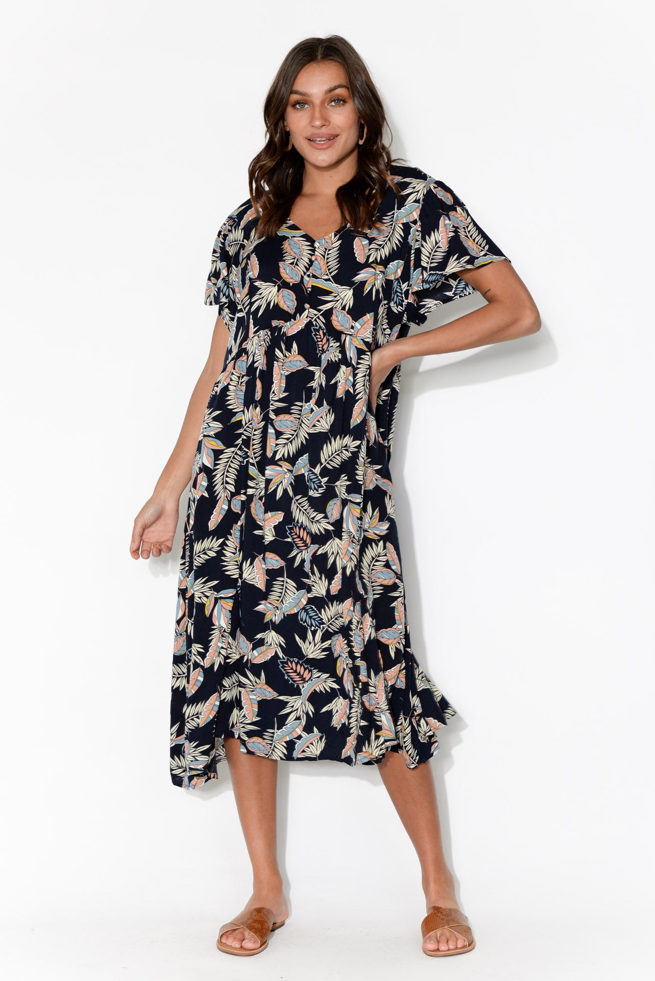 Kalena Navy Leaf Dress