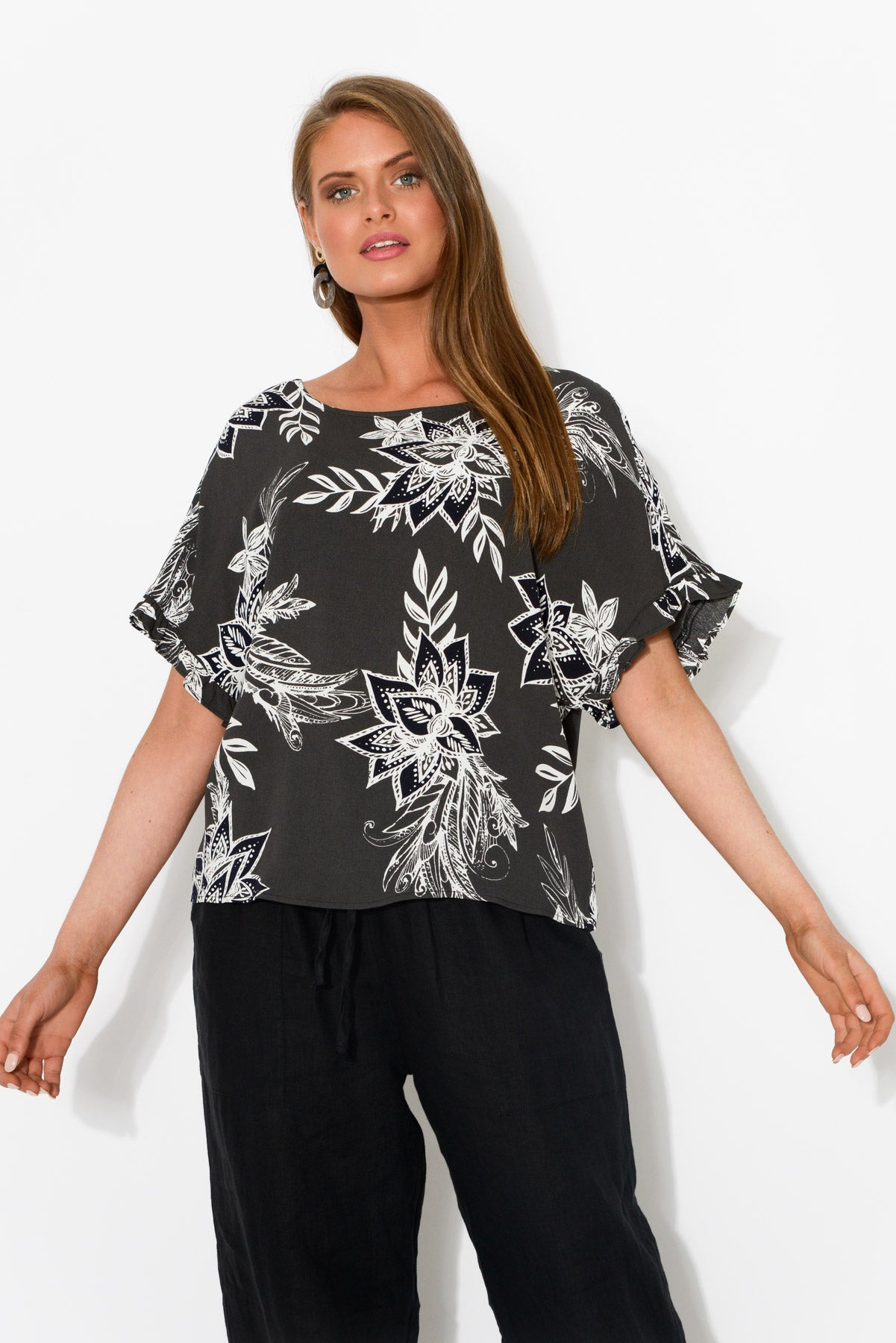Kali Black Frill Top - Blue Bungalow