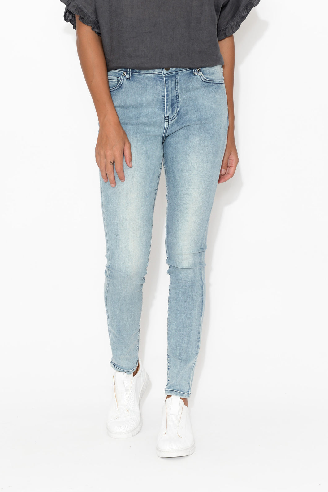 Katika Light Denim Zip Front Jean