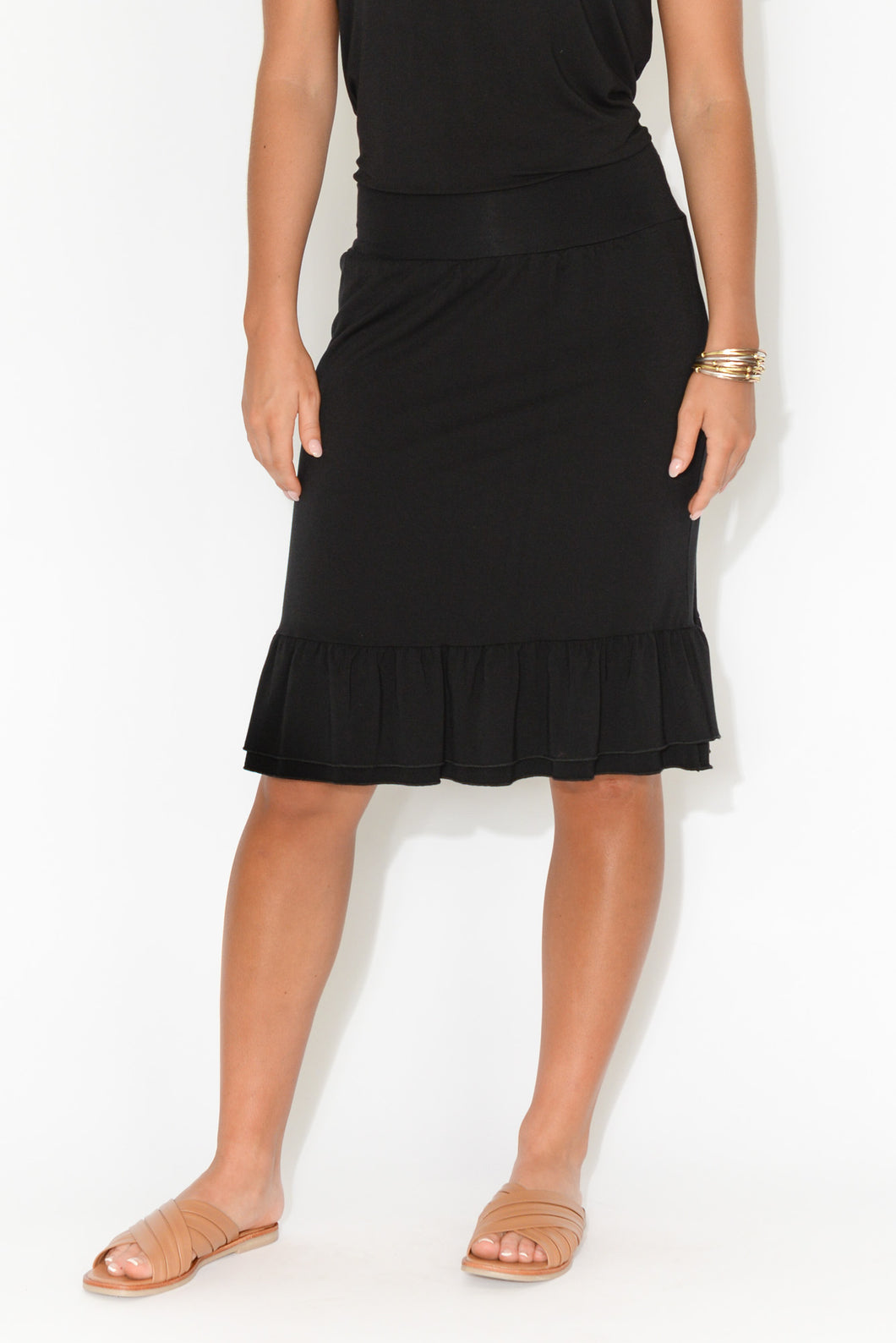 Katy Black Frill Bamboo Skirt