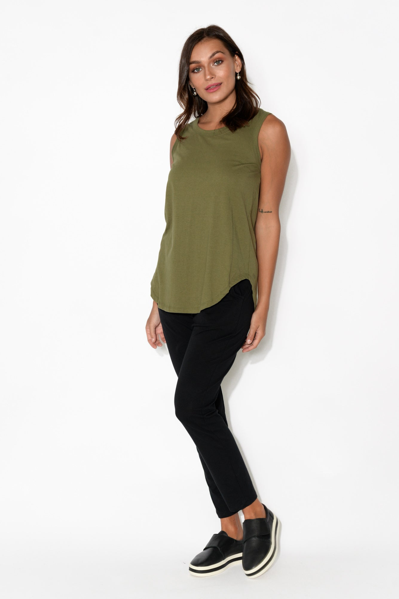 Keira Khaki Cotton Tank