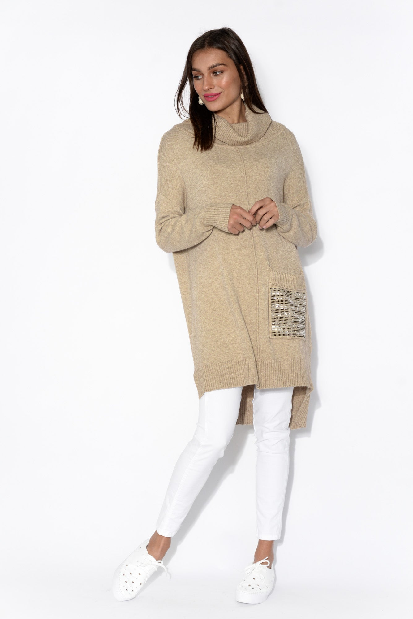 Kelsey Beige Roll Neck Knit Top
