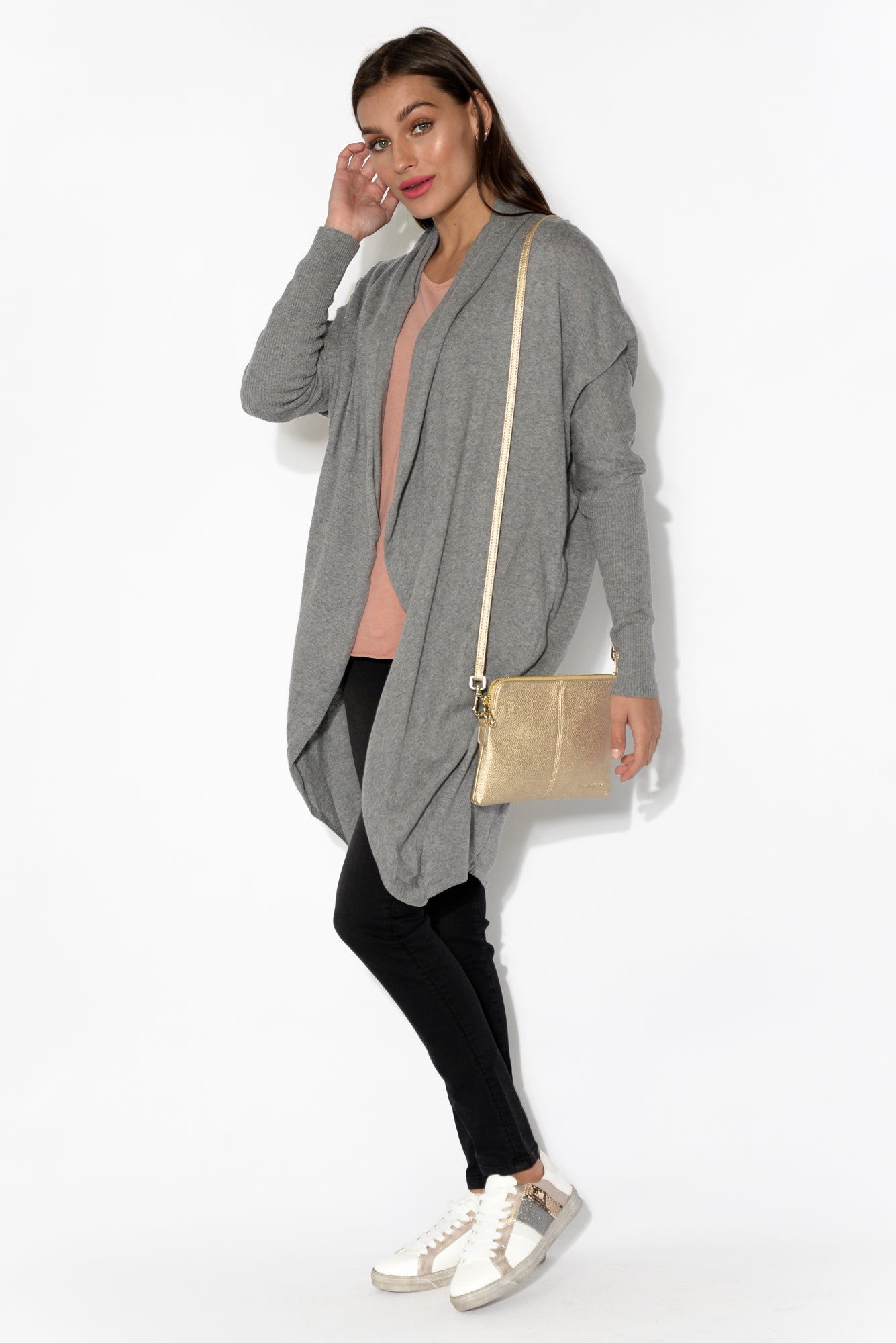 Kenzie Grey Long Sleeve Cotton Cardigan