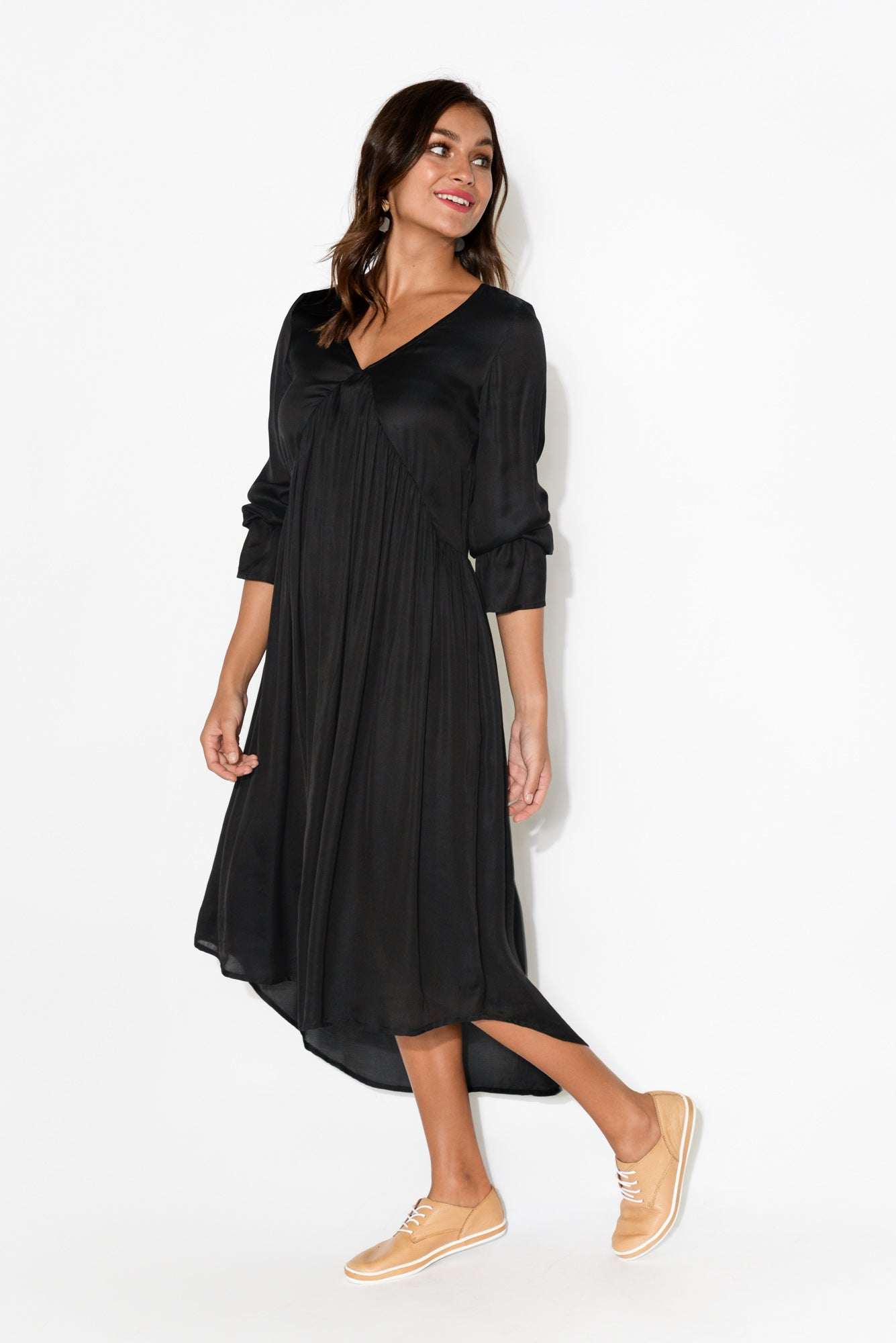 Kerena Black Gather Front Dress