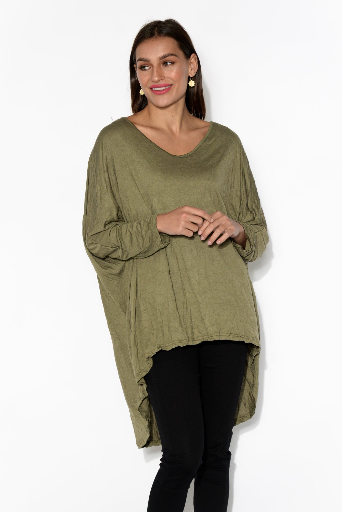 Khaki Oversized Cotton Hi Lo Top