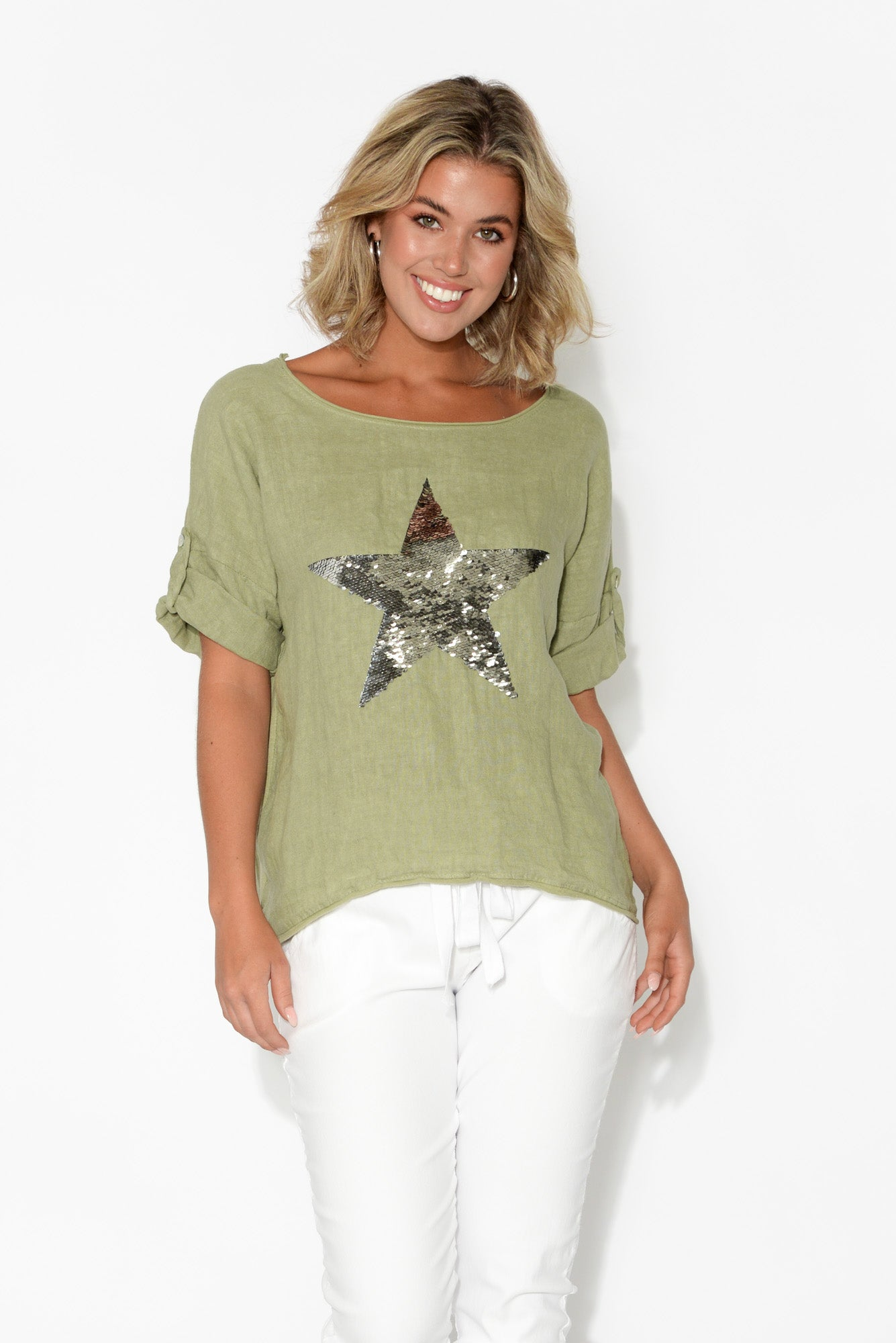 Khaki Sequin Star Linen Cotton Top