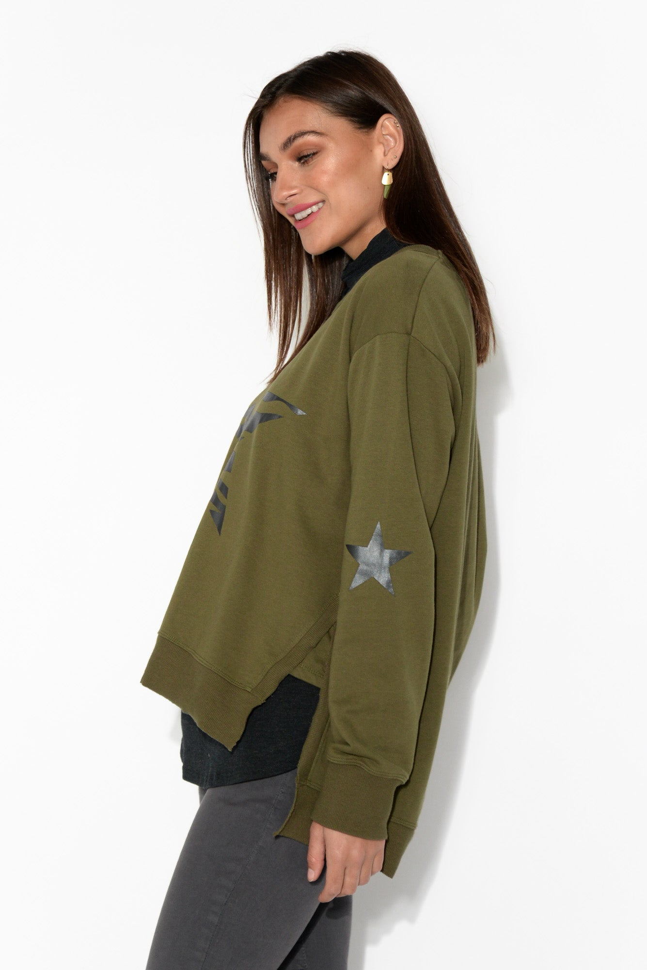 Khaki Zebra Star Cotton Jumper