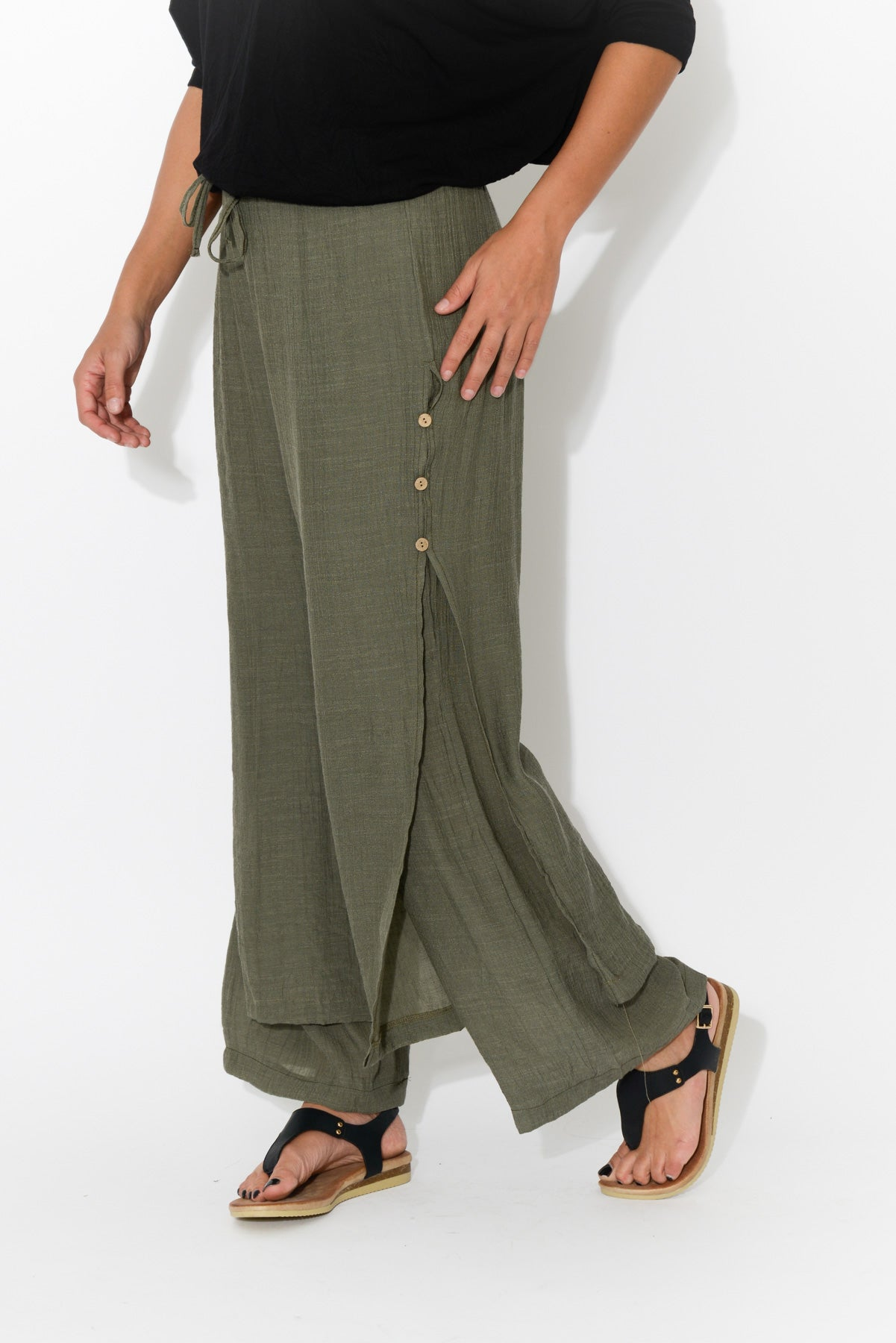Khaki Layered Wide Leg Pant - Blue Bungalow